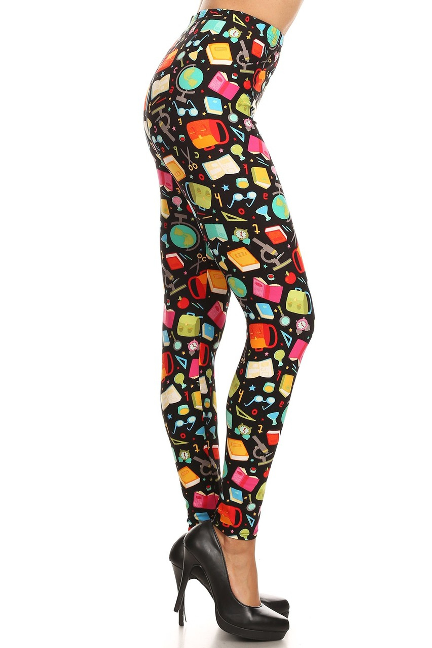Brushed Colorful Student Plus Size Leggings - 3X-5X