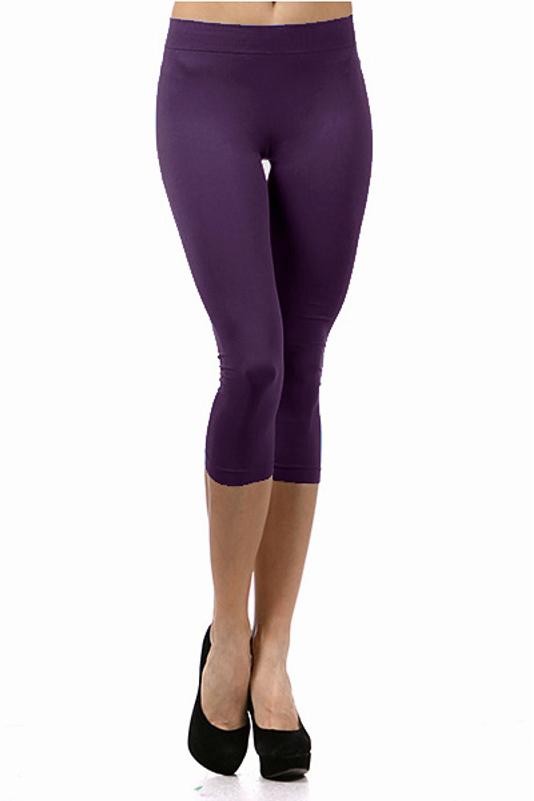 Basic Capri Length Spandex Leggings Purple