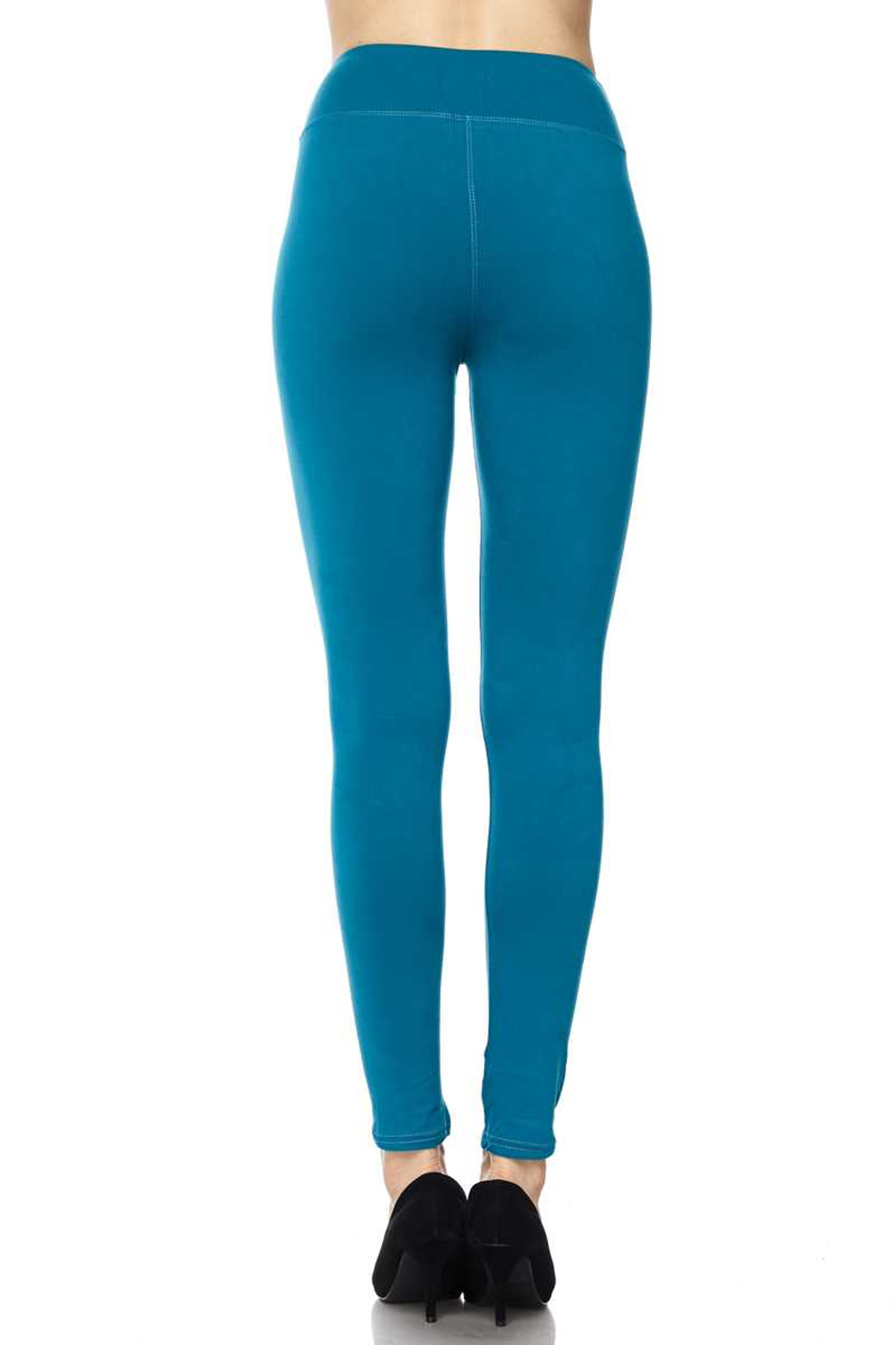 Brushed High Waisted Basic Solid Leggings - 3 Inch Waist