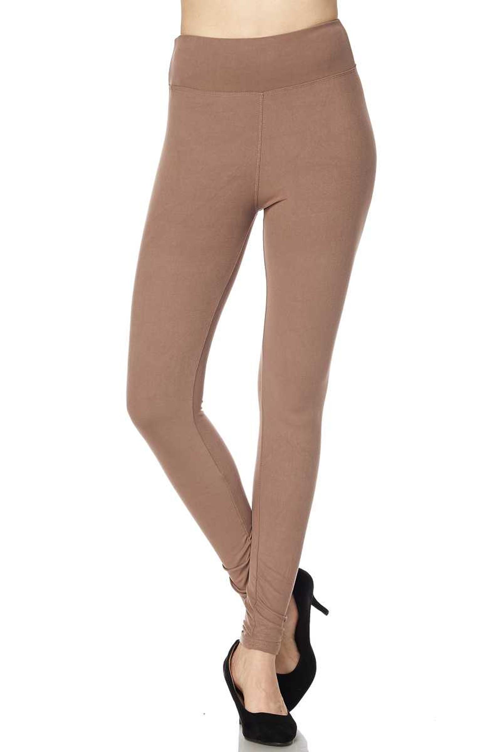 Brushed High Waisted Plus Size Basic Solid Leggings - 3 Inch Band