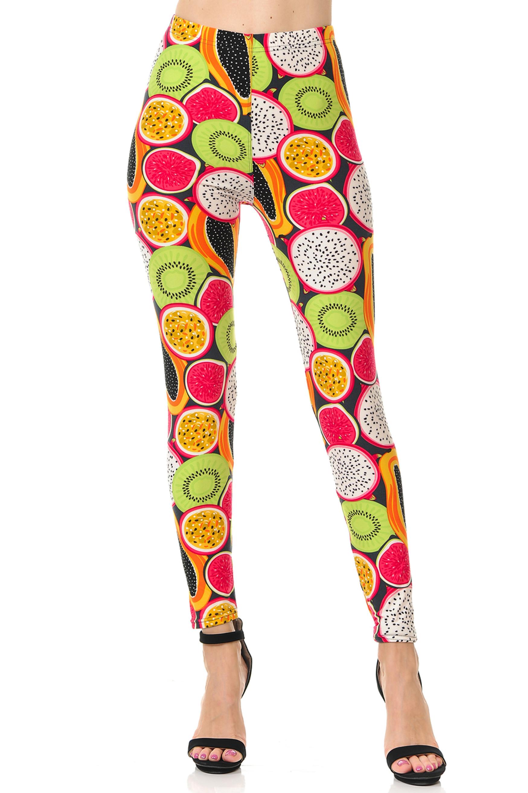 Brushed Colorful Tropical Fruit Plus Size Leggings