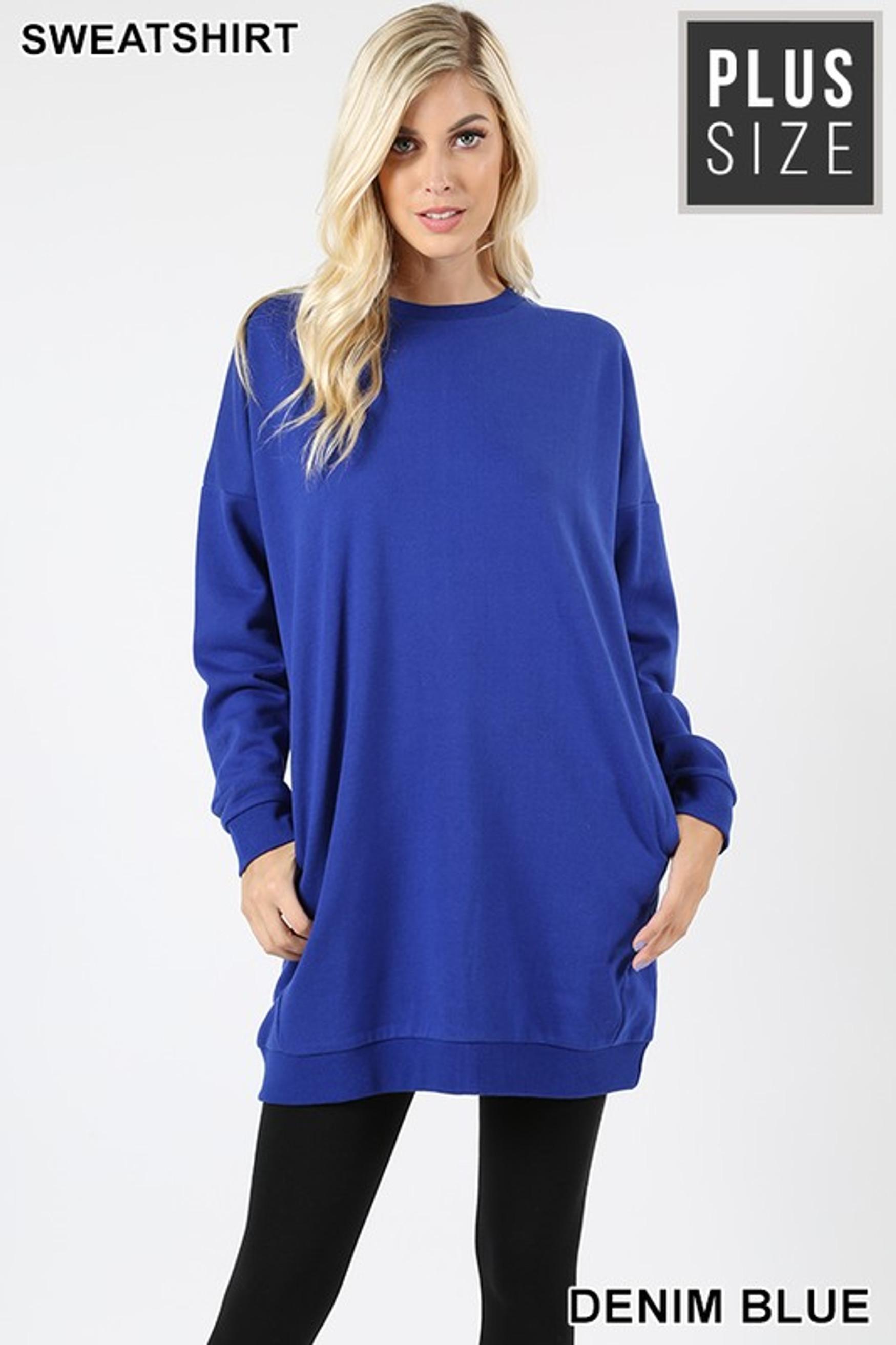 Premium Oversized Round-Neck Plus Size Sweatshirt with Pockets