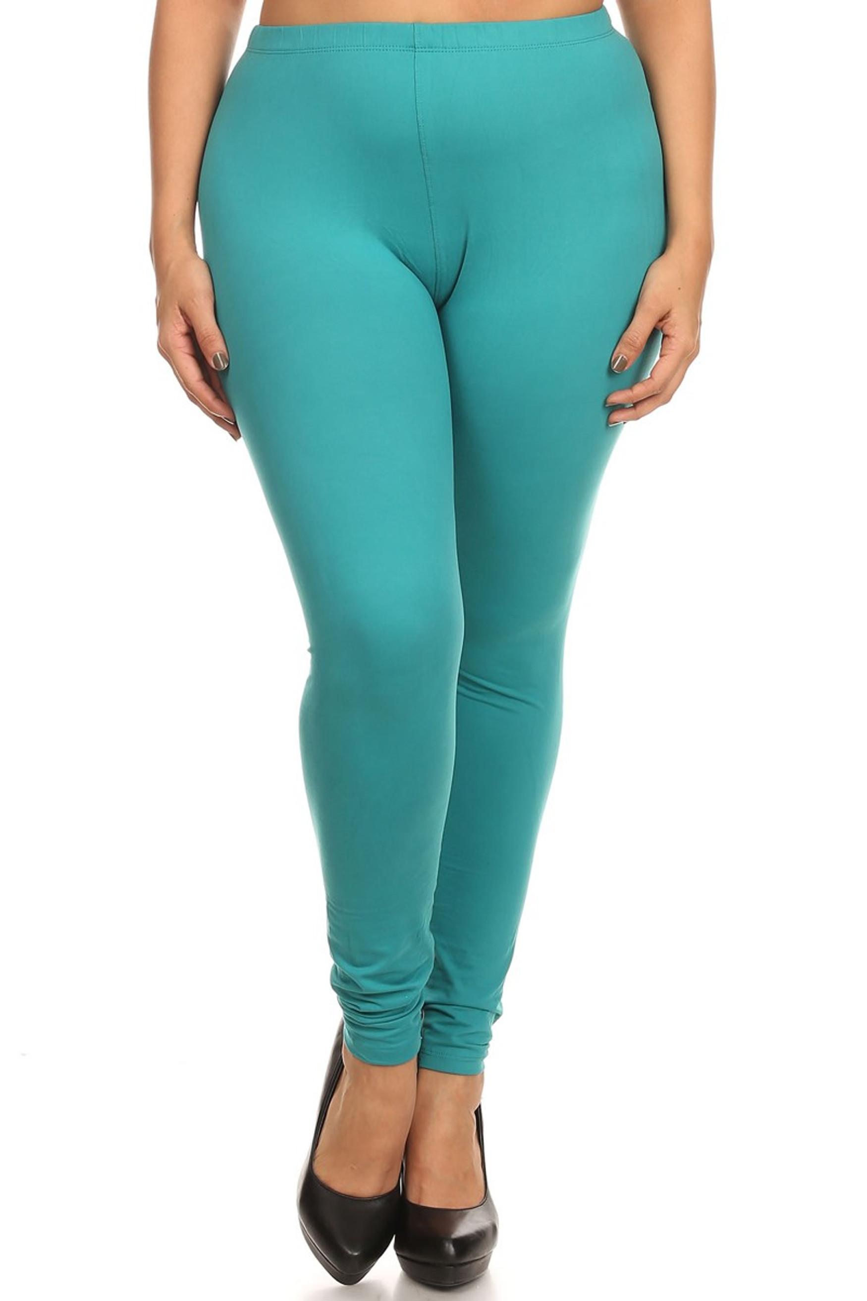 Brushed Basic Solid Leggings Plus Size - 3X-5X