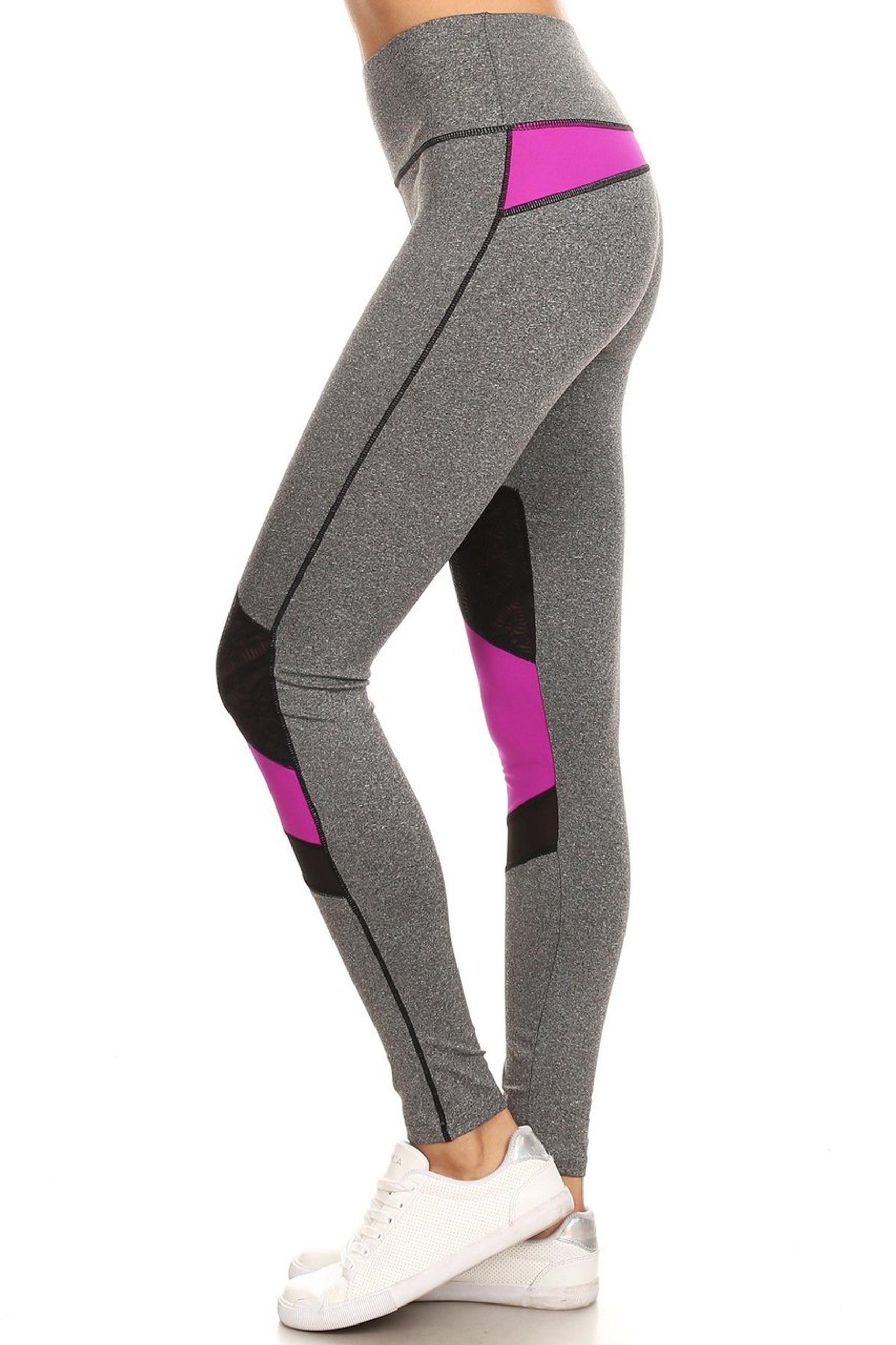 Premium Olive Multi Mesh Panel Workout Leggings