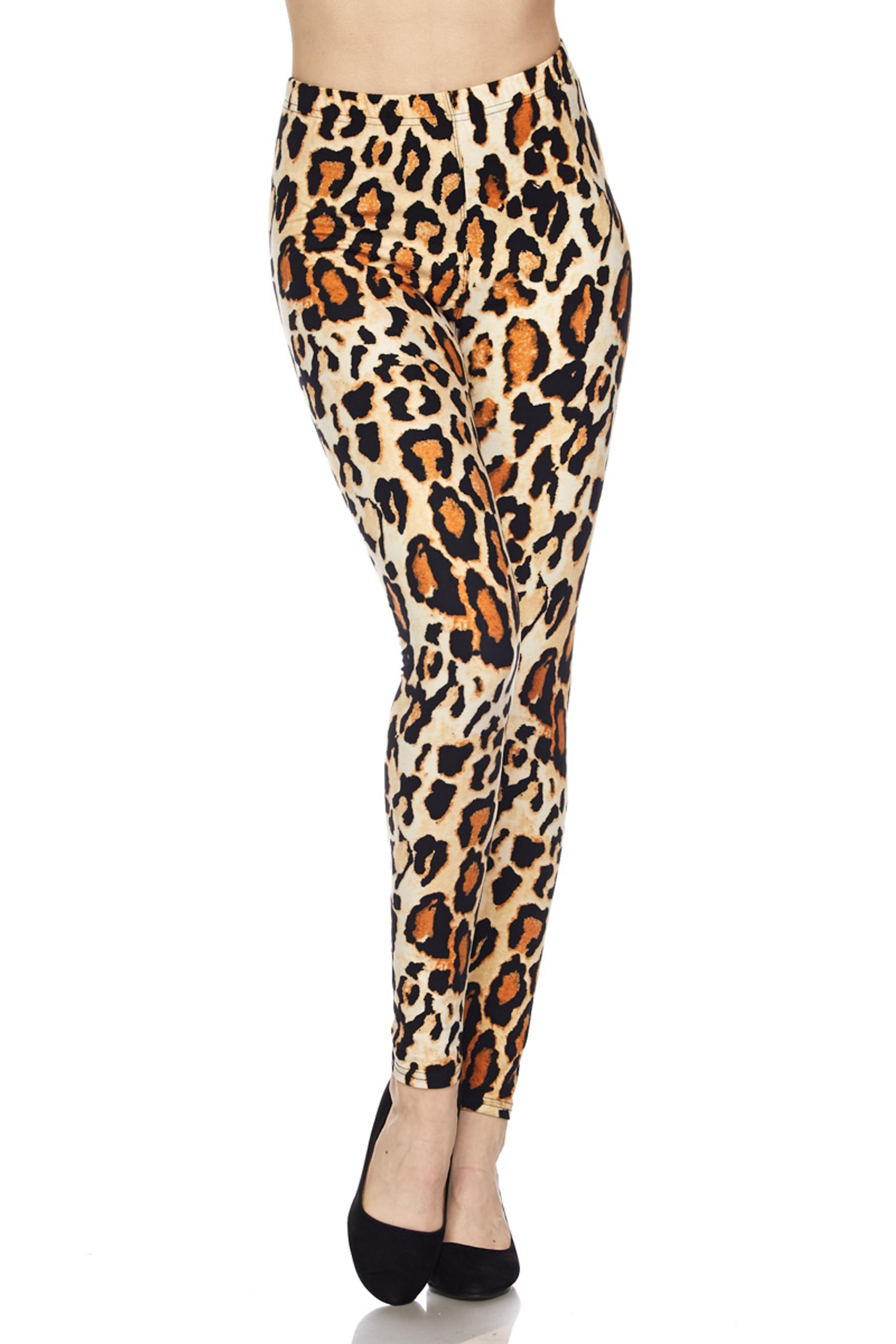 BrushedBrazilian Leopard Plus Size Leggings - 3X-5X