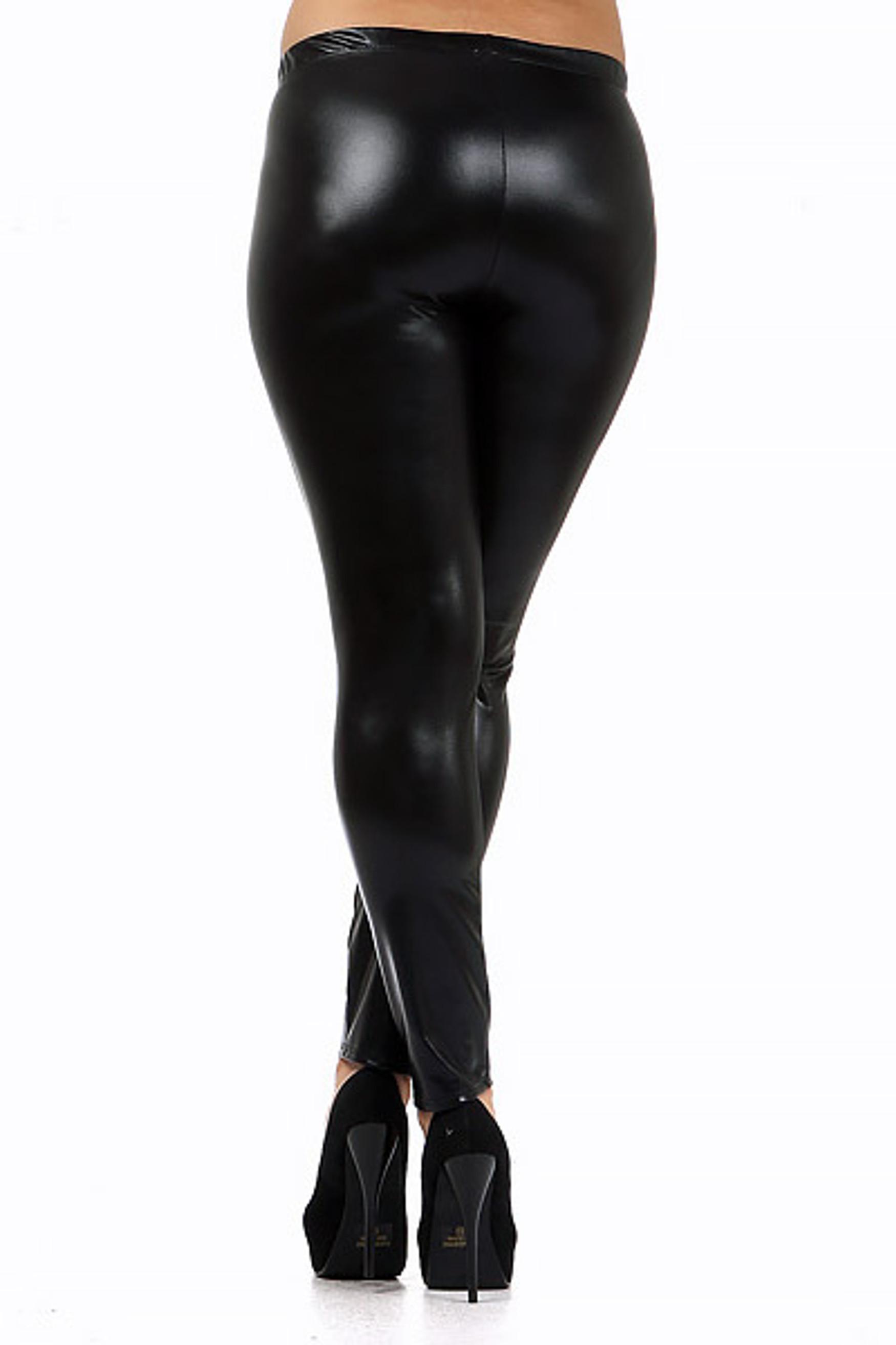 Shiny Black Faux Leather Plus Size Leggings