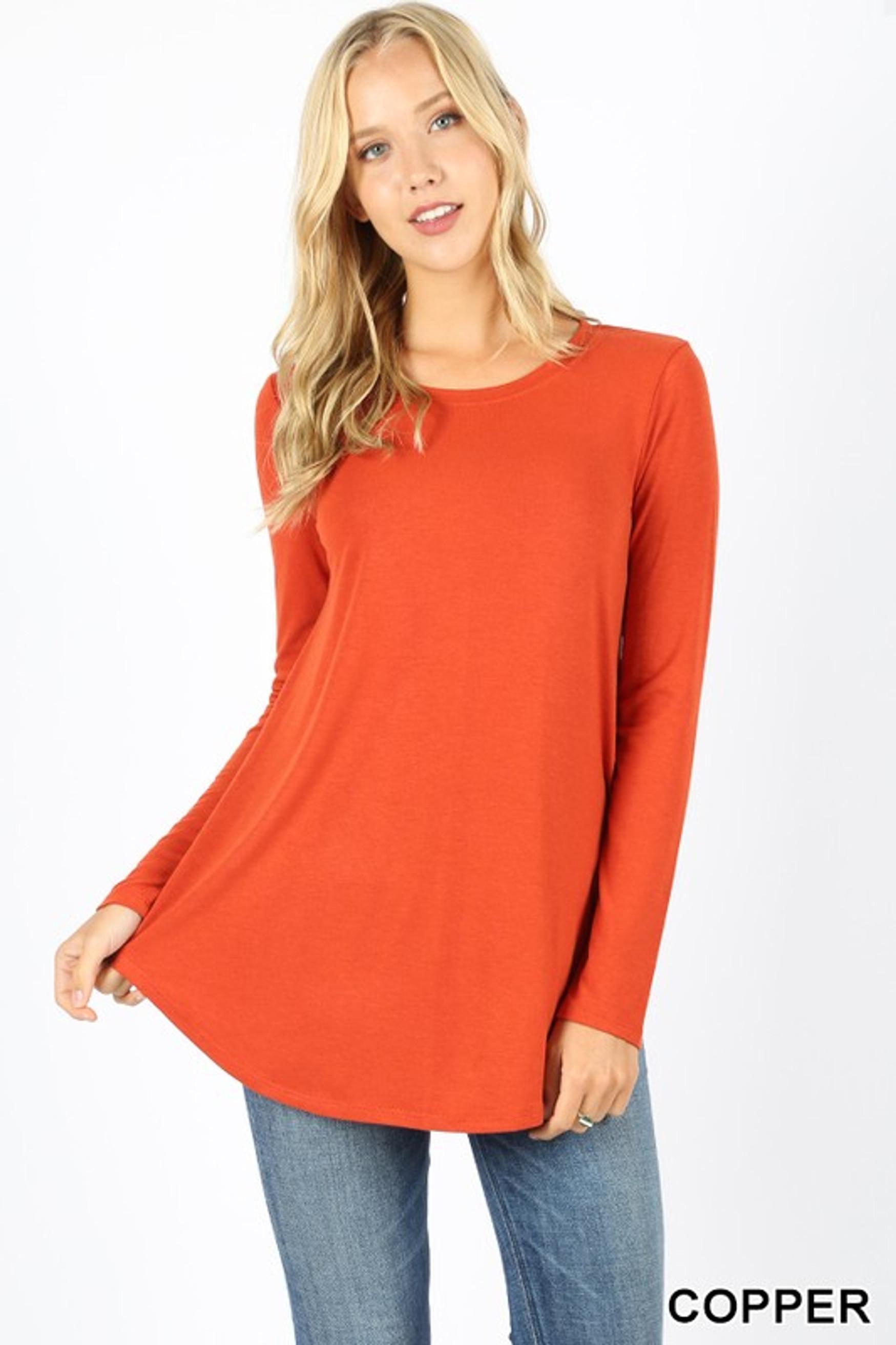 Premium Round Neck Round Hem Long Sleeve Plus Size Top