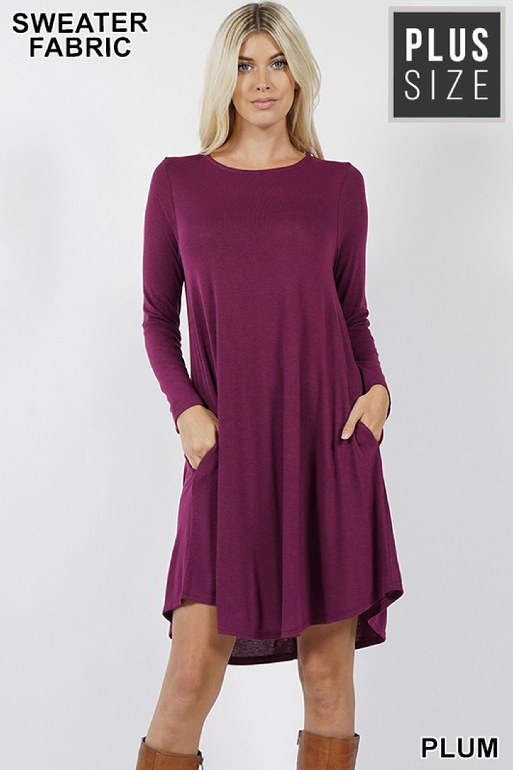 Premium Long Sleeve Sweater Longline Plus Size Tunic with Pockets