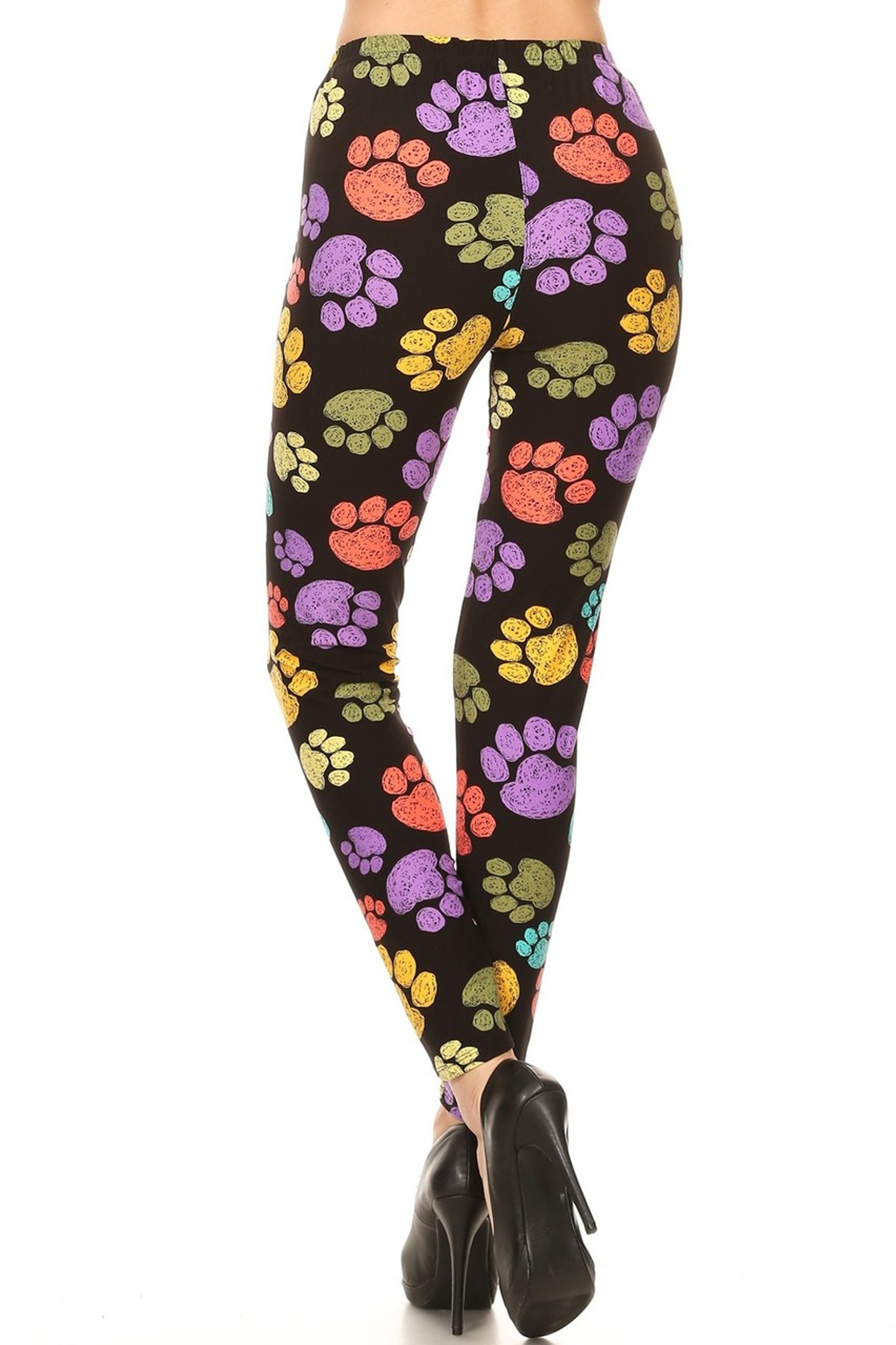 Brushed Colorful Paw Print Leggings - YCC