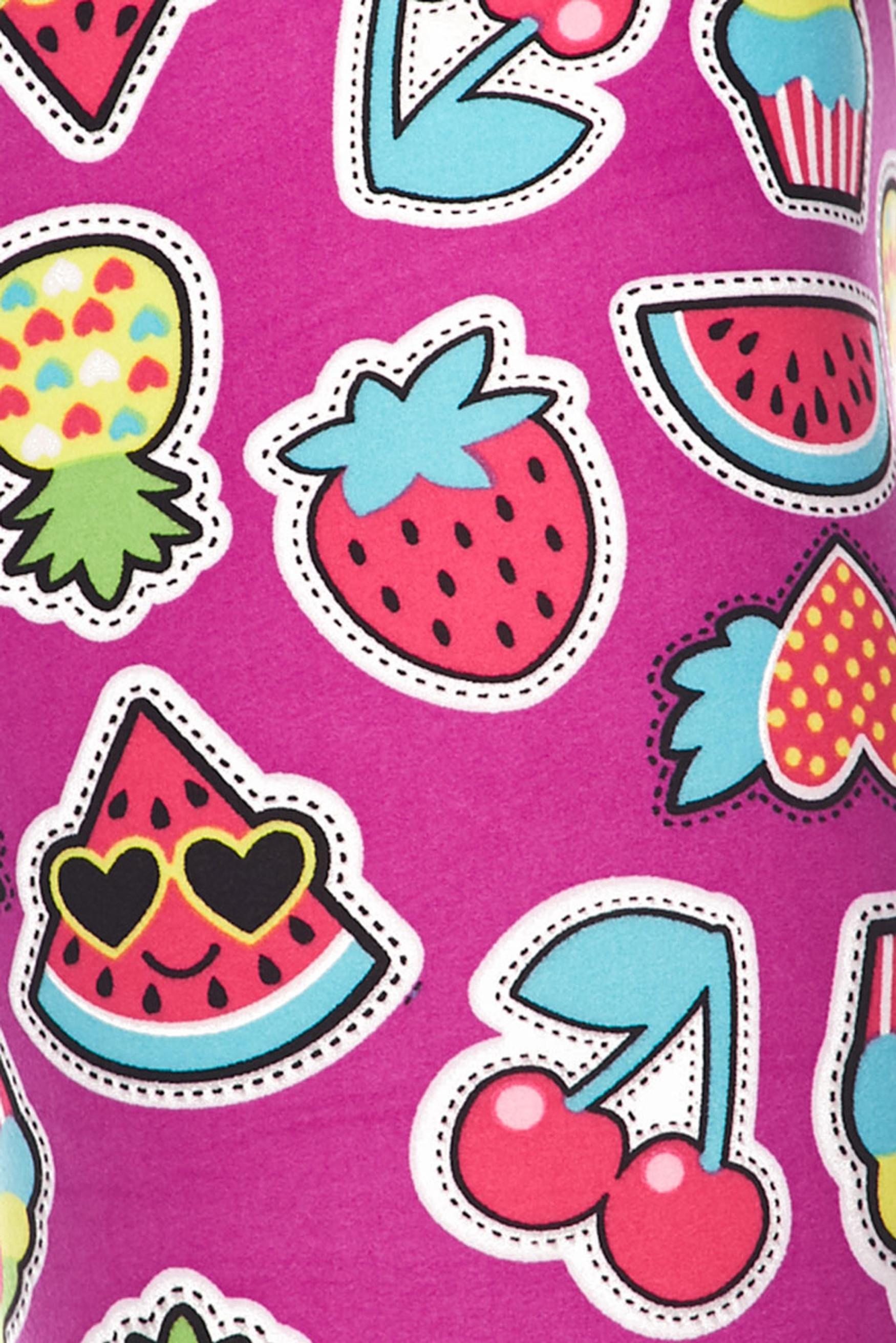 Brushed  Cartoon Fruit Leggings