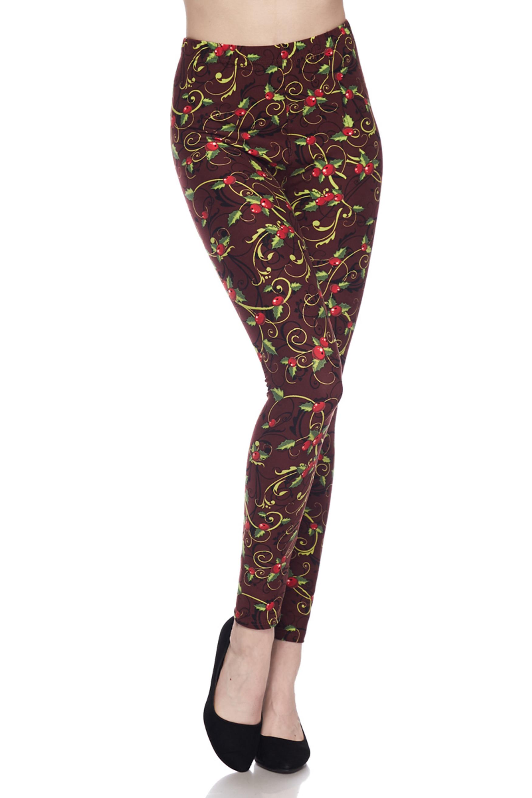 Brushed Christmas Holly Plus Size Leggings - 3X-5X