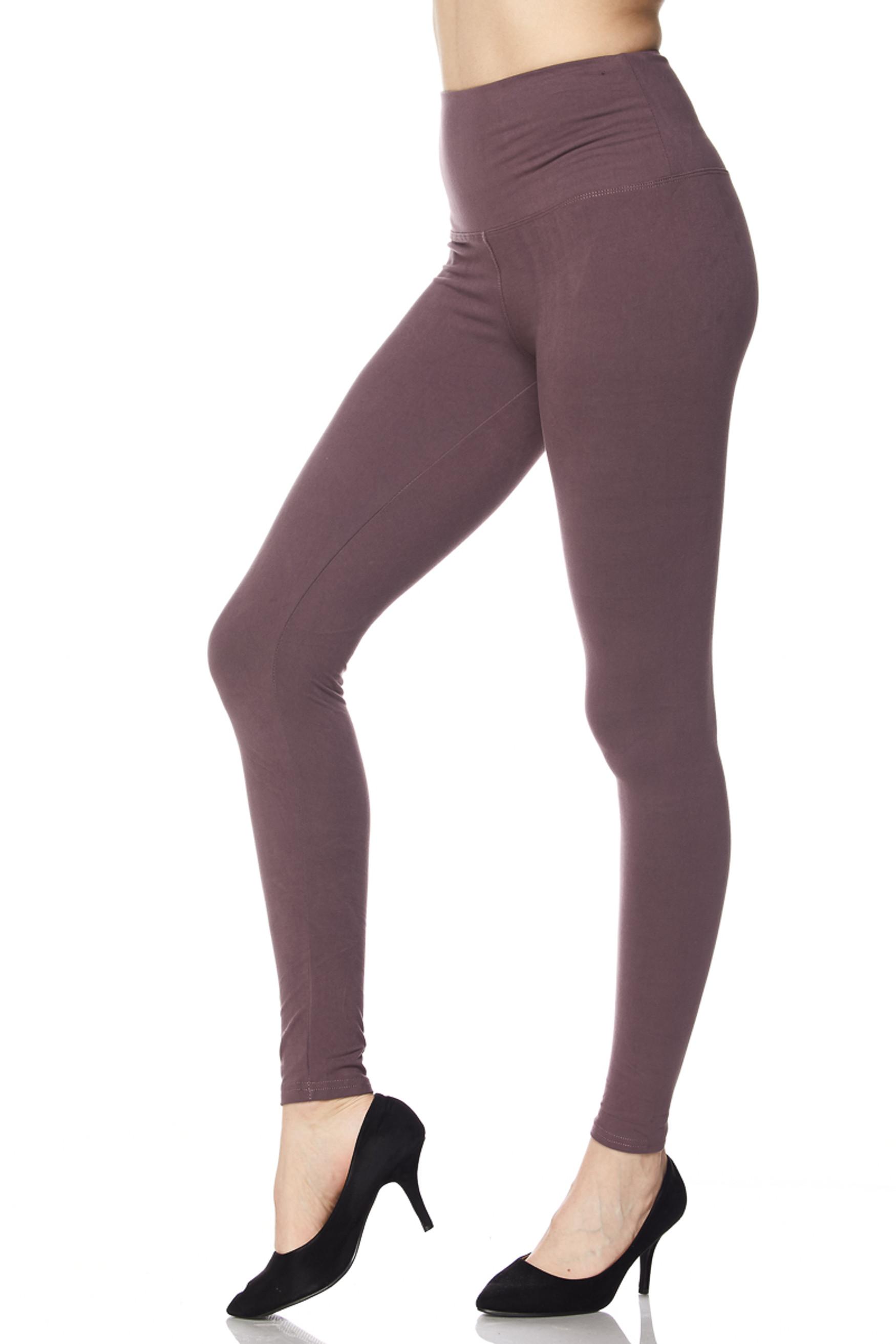 Brushed High Waisted Plus Size Basic Solid Leggings - 5 Inch Band