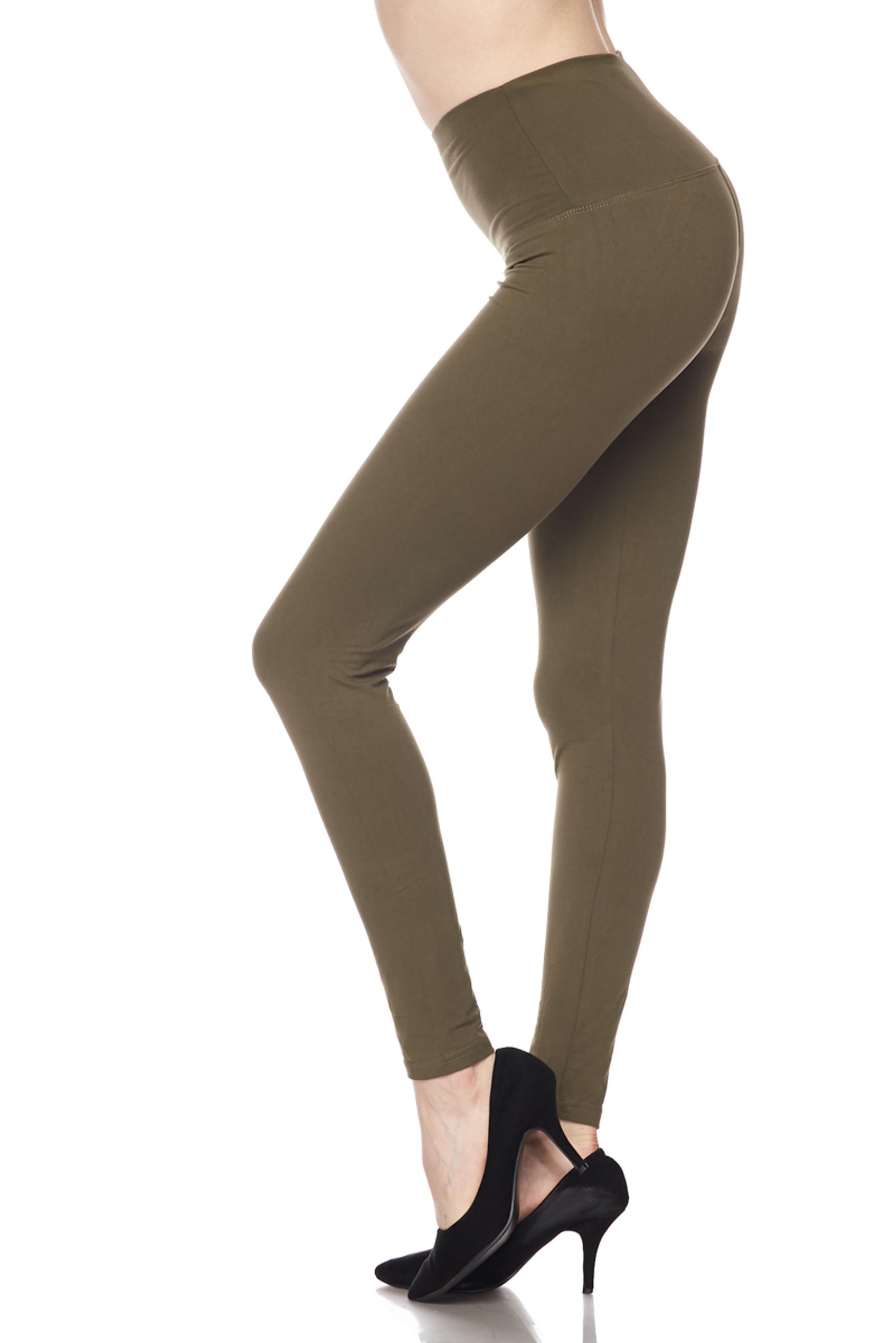 Brushed High Waisted Basic Solid Plus Size Leggings - 5 Inch Waist