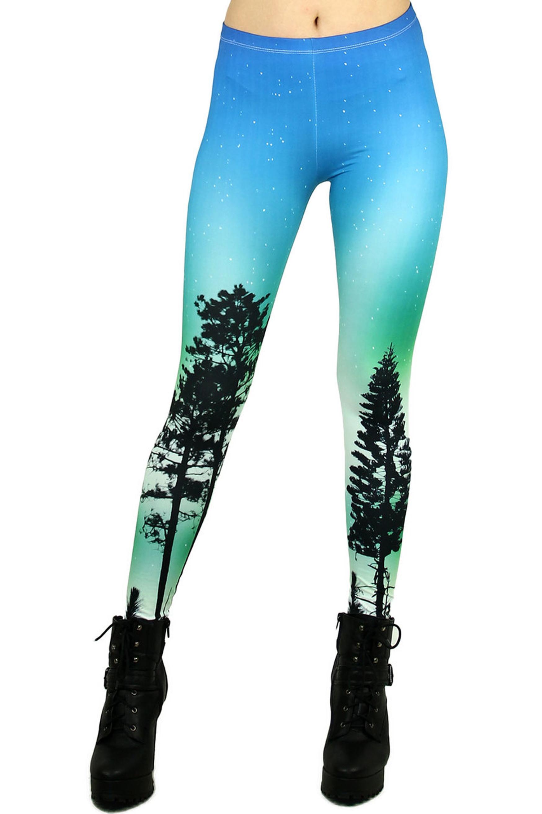 Brushed Graphic Blue Sunset Plus Size Leggings