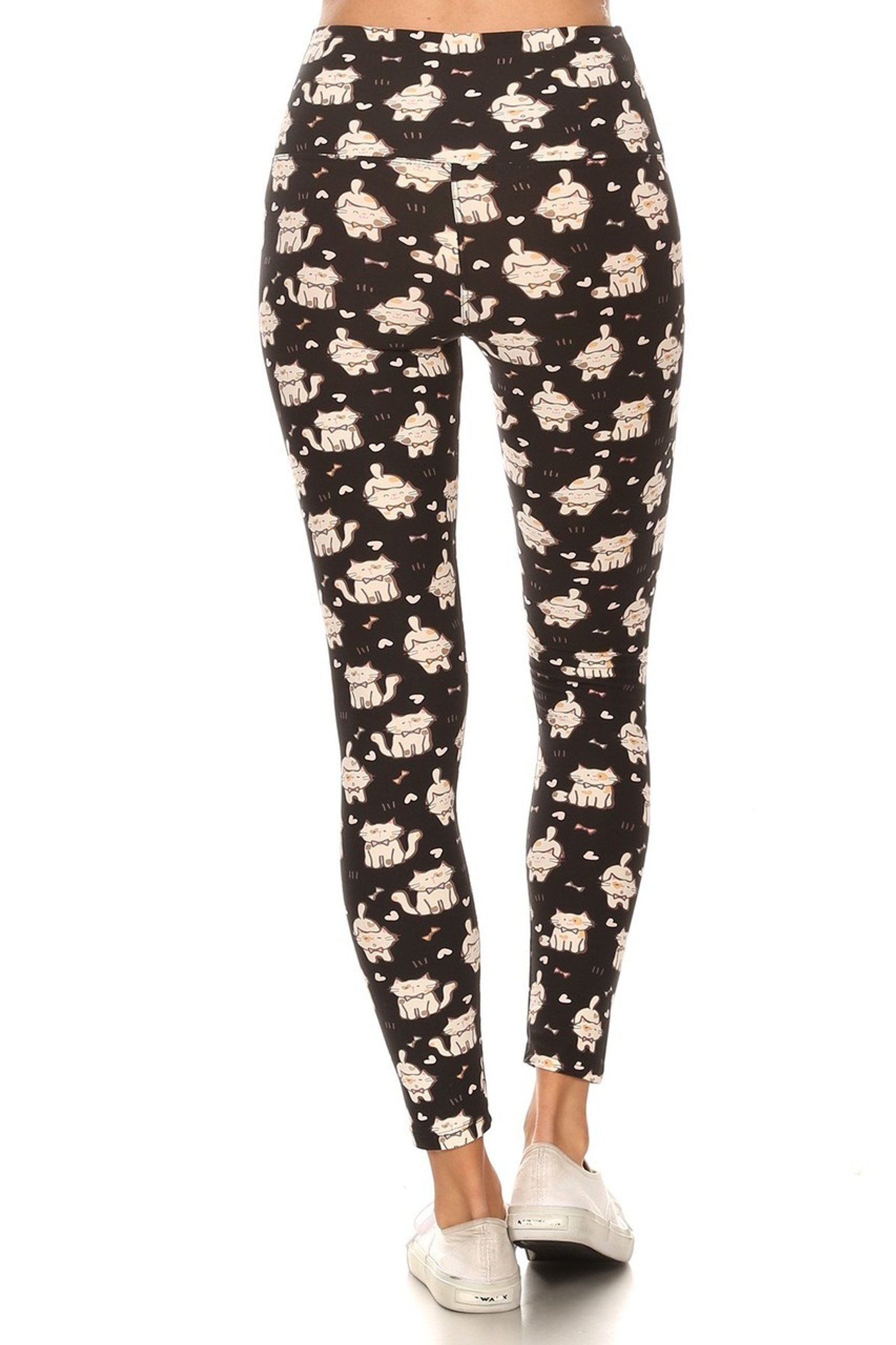 Brushed Bow Tie Kitty Cats High Waisted Leggings