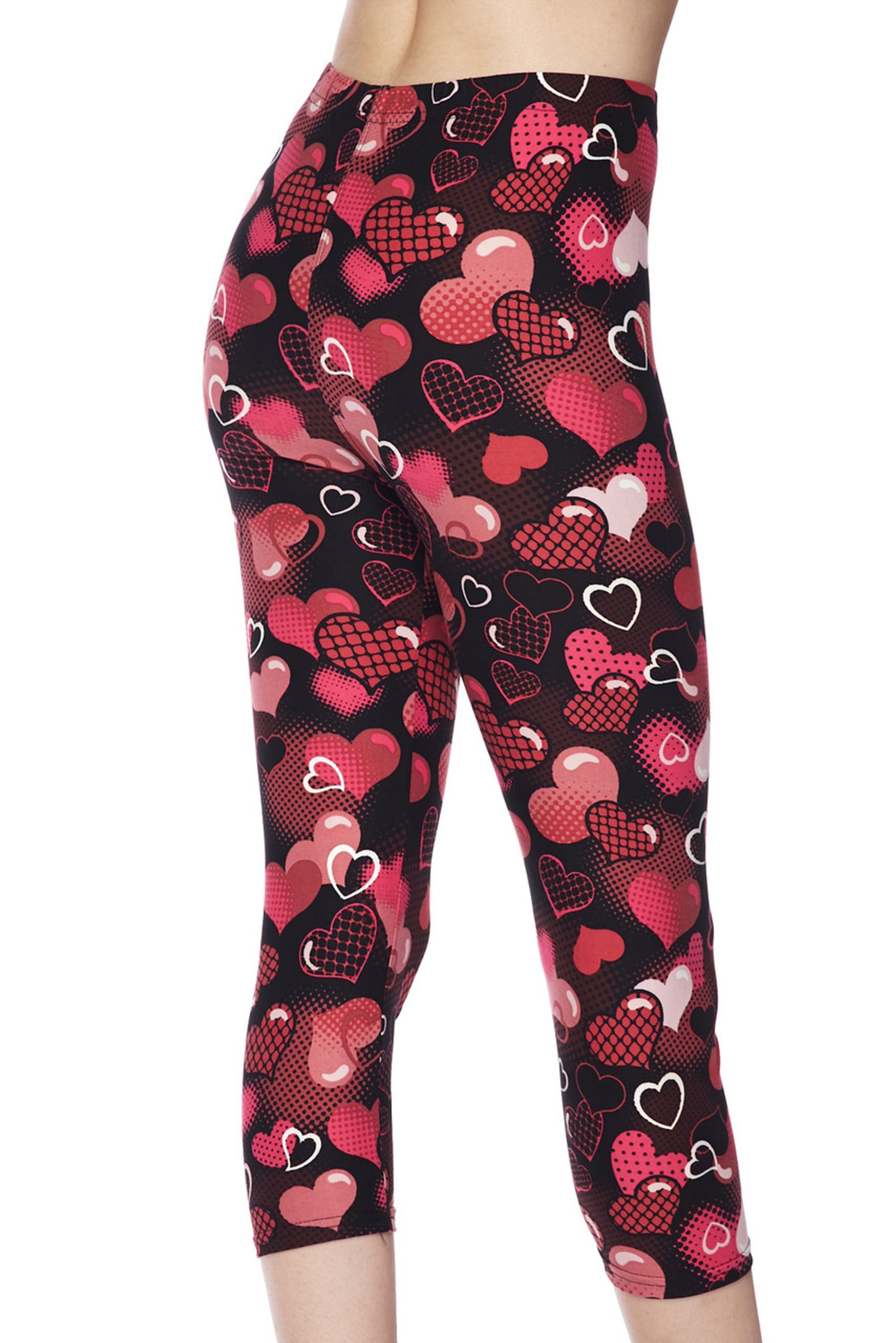 Brushed Motley Valentine Hearts Capris