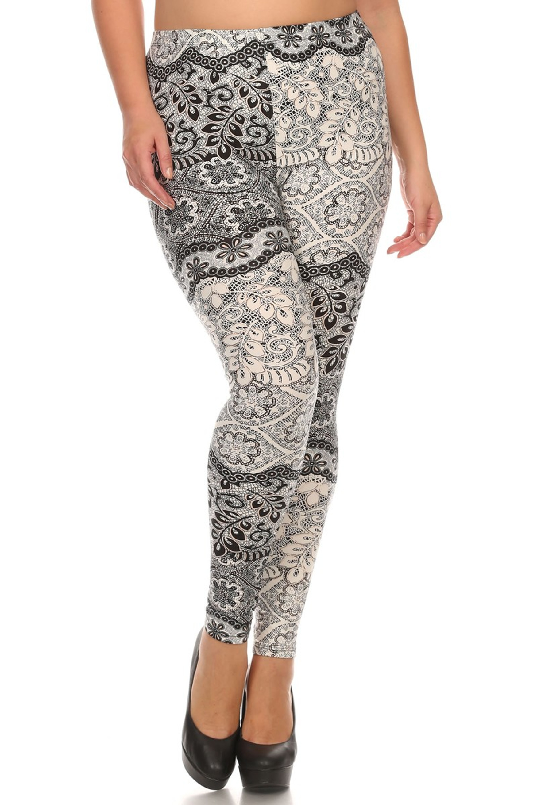 Front side image of Brushed Exquisite Leaf Plus Size Leggings - 3X - 5X