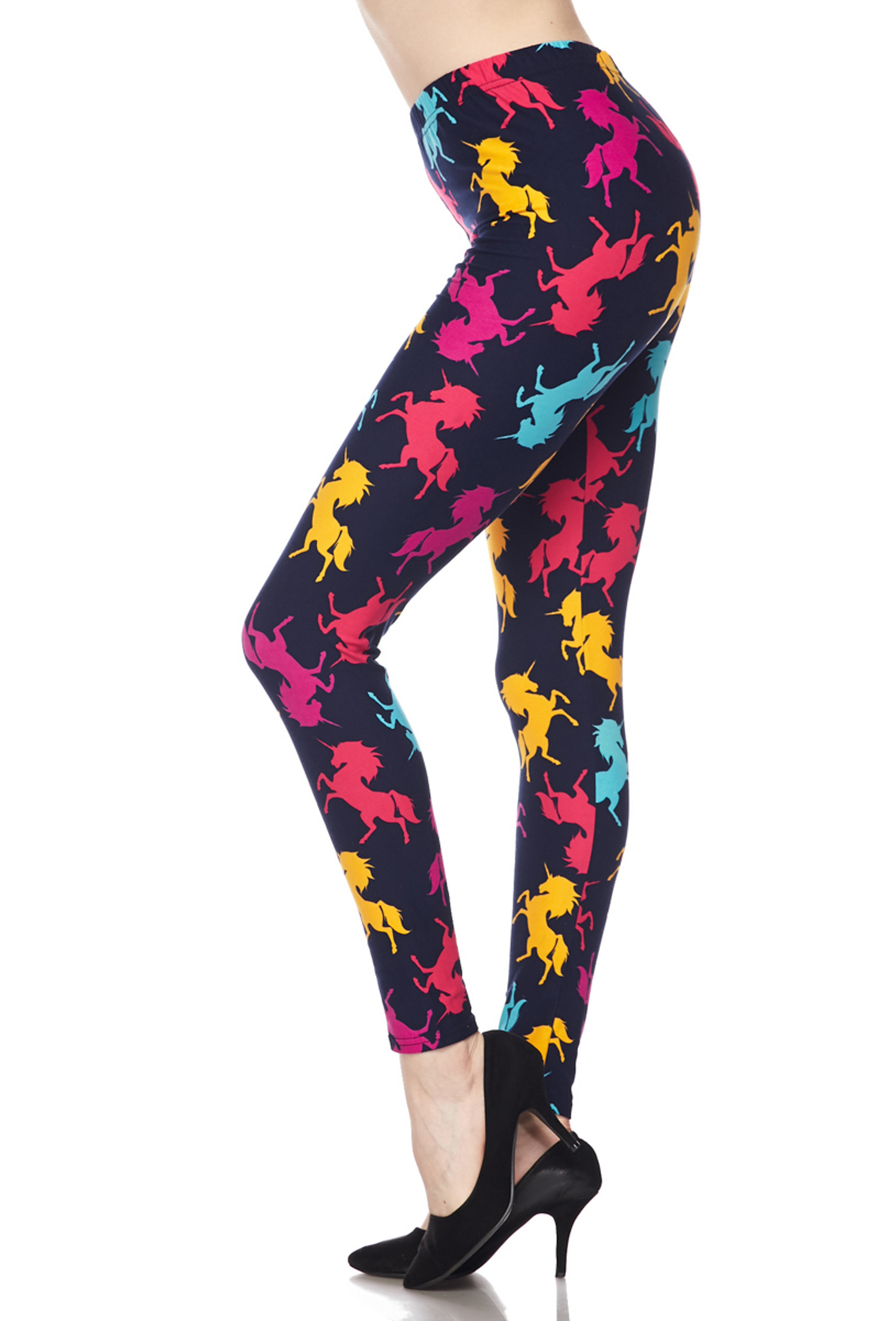 Brushed Colorful Unicorns Plus Size Leggings