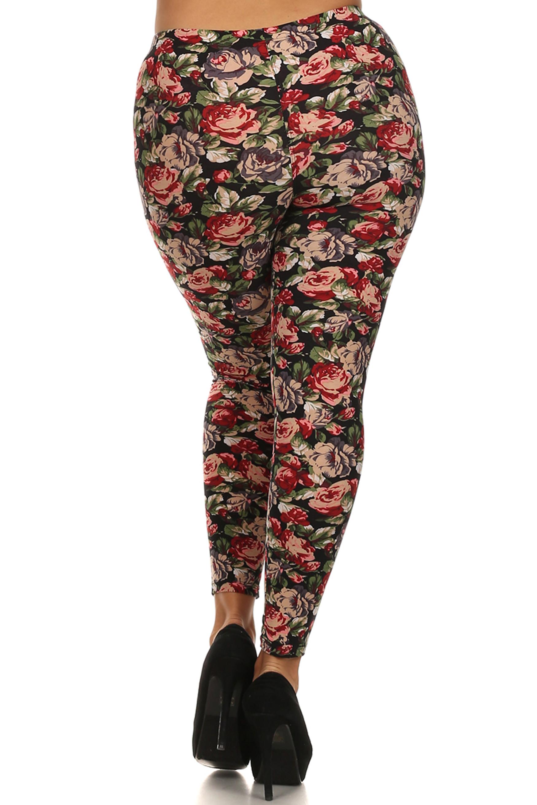 Back side image of Brushed Plus Size Vintage Floral Leggings