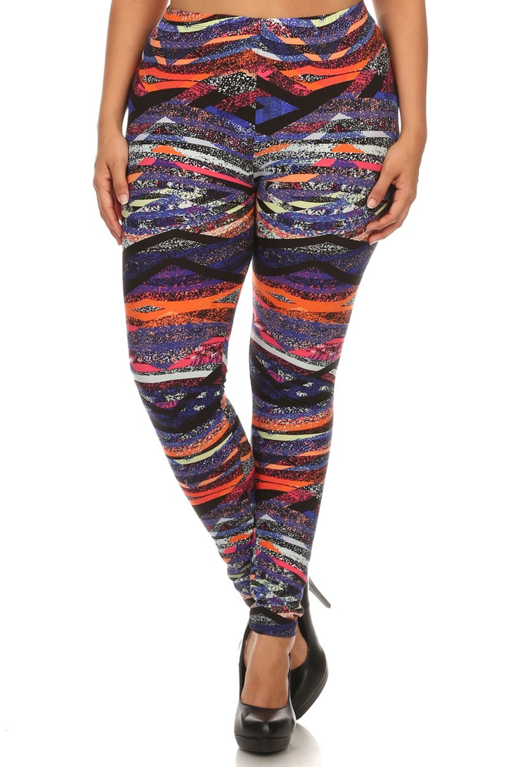 Front side image of Brushed Colorful Bands Plus Size Leggings