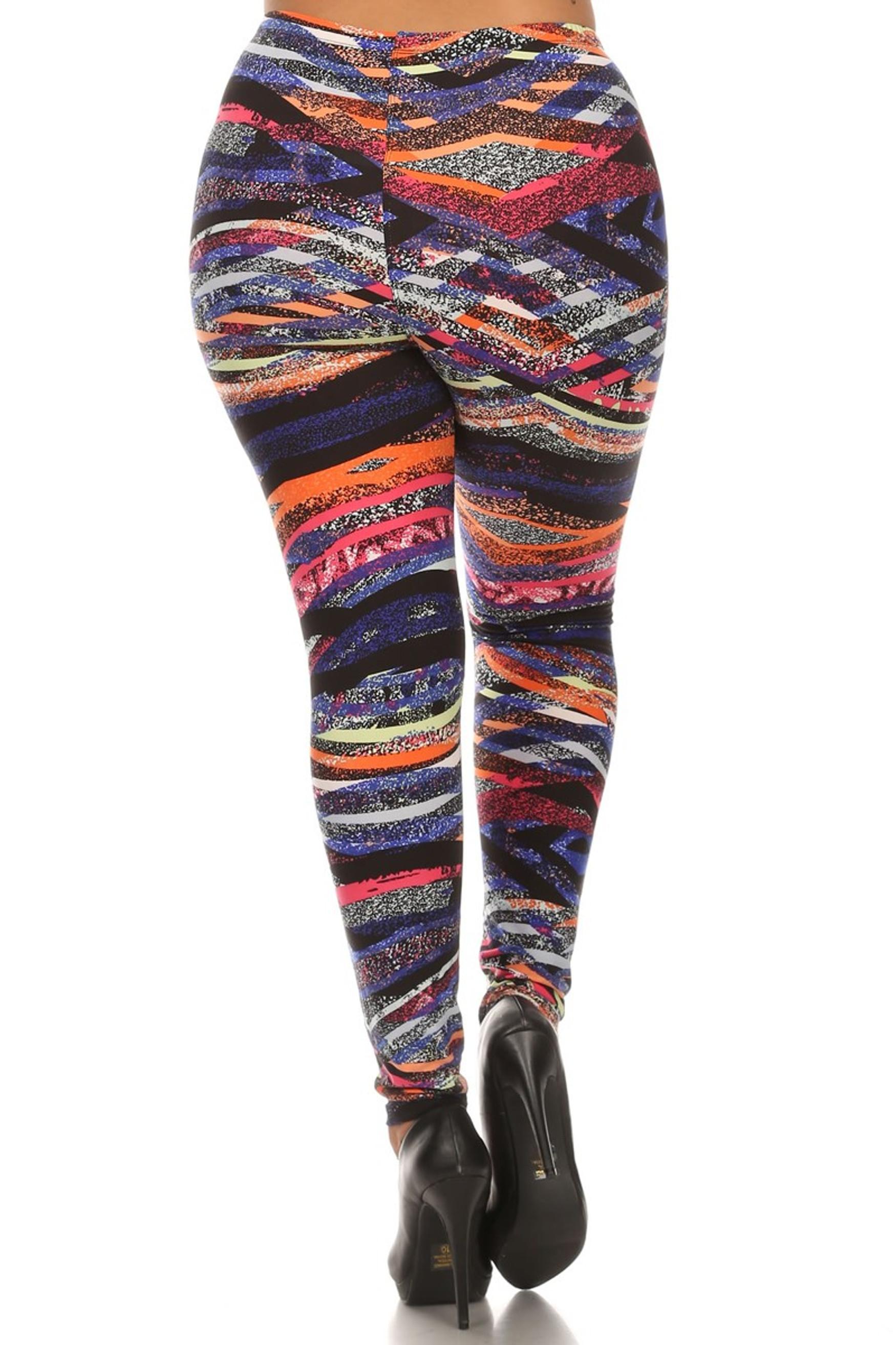 Back side image of Brushed Colorful Bands Plus Size Leggings