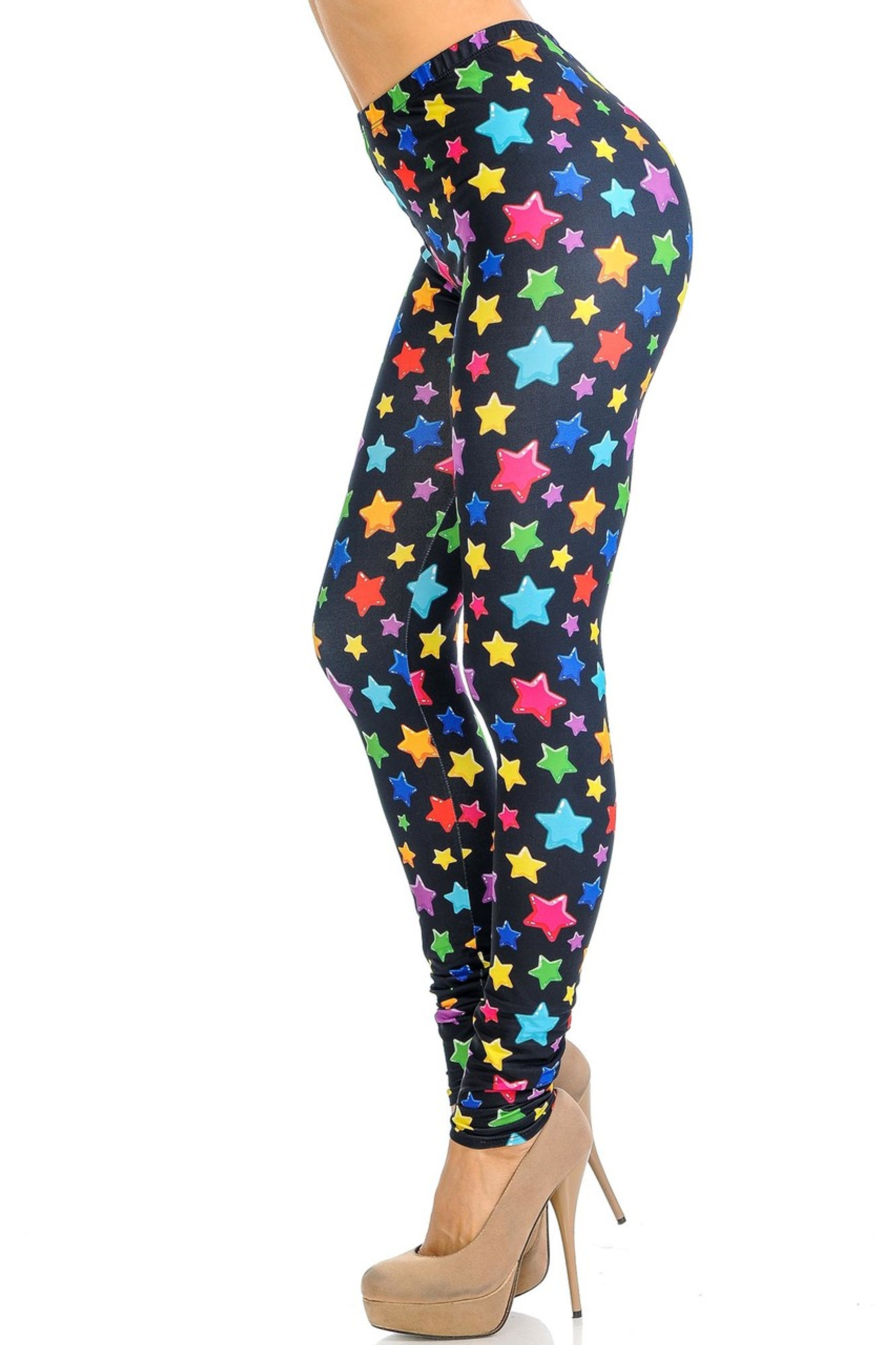 Creamy Soft Colorful Cartoon Stars Leggings - Signature Collection