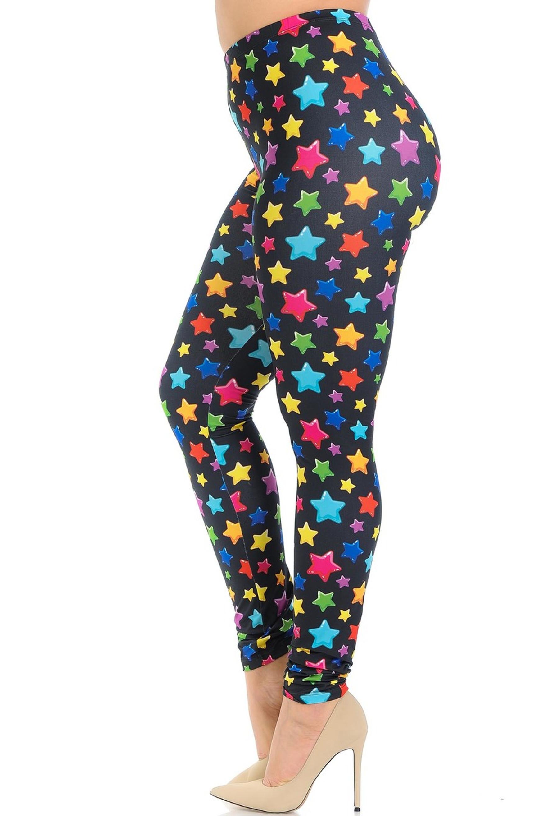 Creamy Soft Colorful Cartoon Stars Plus Size Leggings - Signature Collection