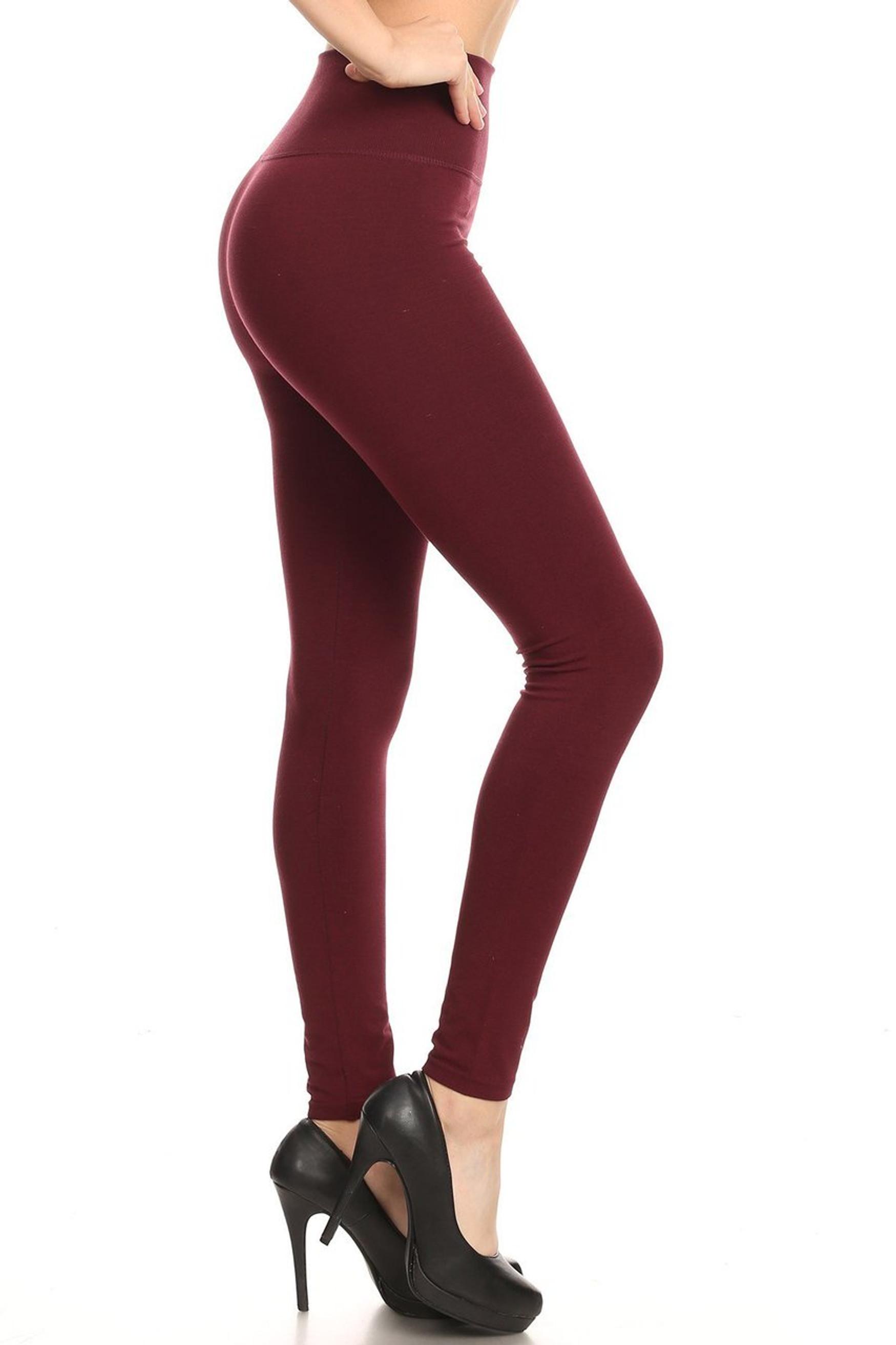 Burgundy Side Premium High Waisted Basic Leggings