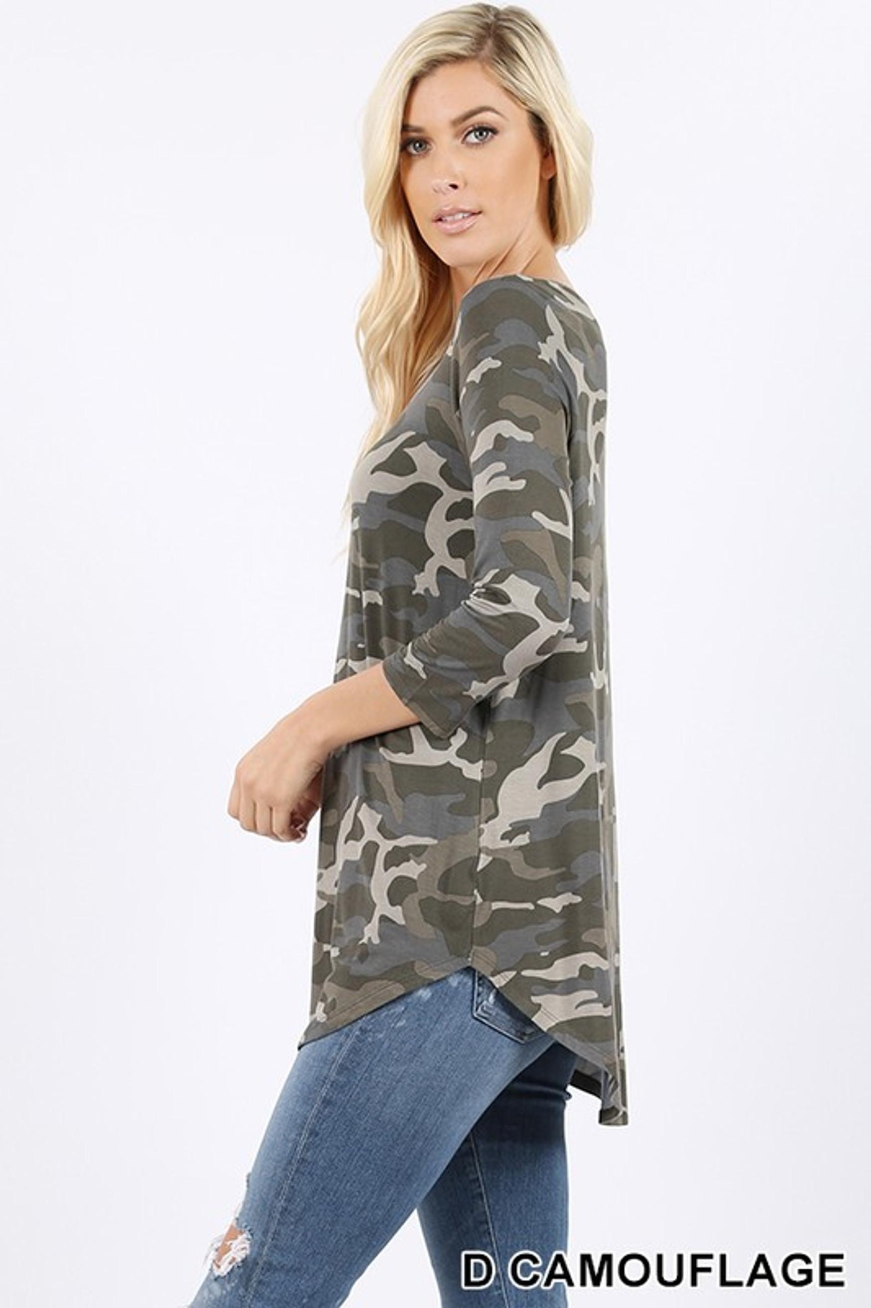 3/4 Sleeve V-Neck and Round Hem Camouflage Top