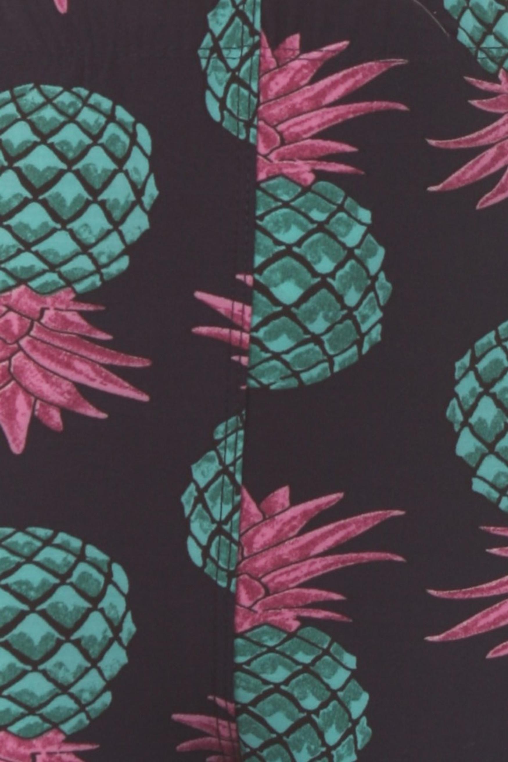 Brushed Teal Pineapple Kids Leggings - EEVEE