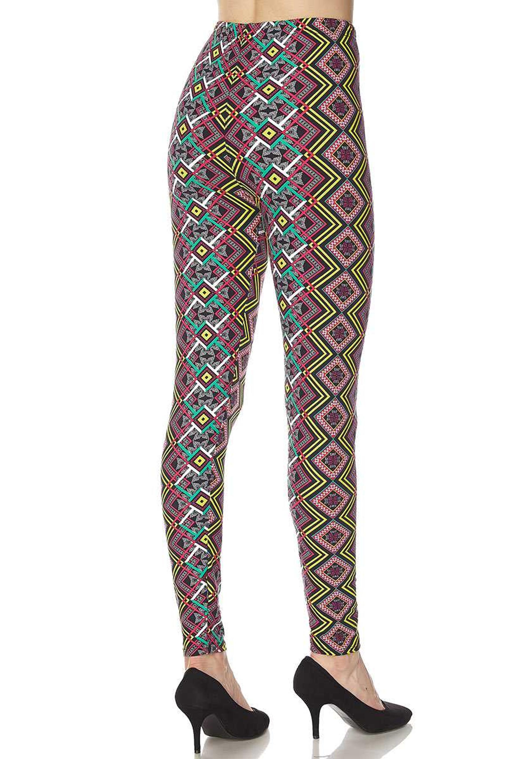 Brushed Angled Colorful Symmetry Leggings
