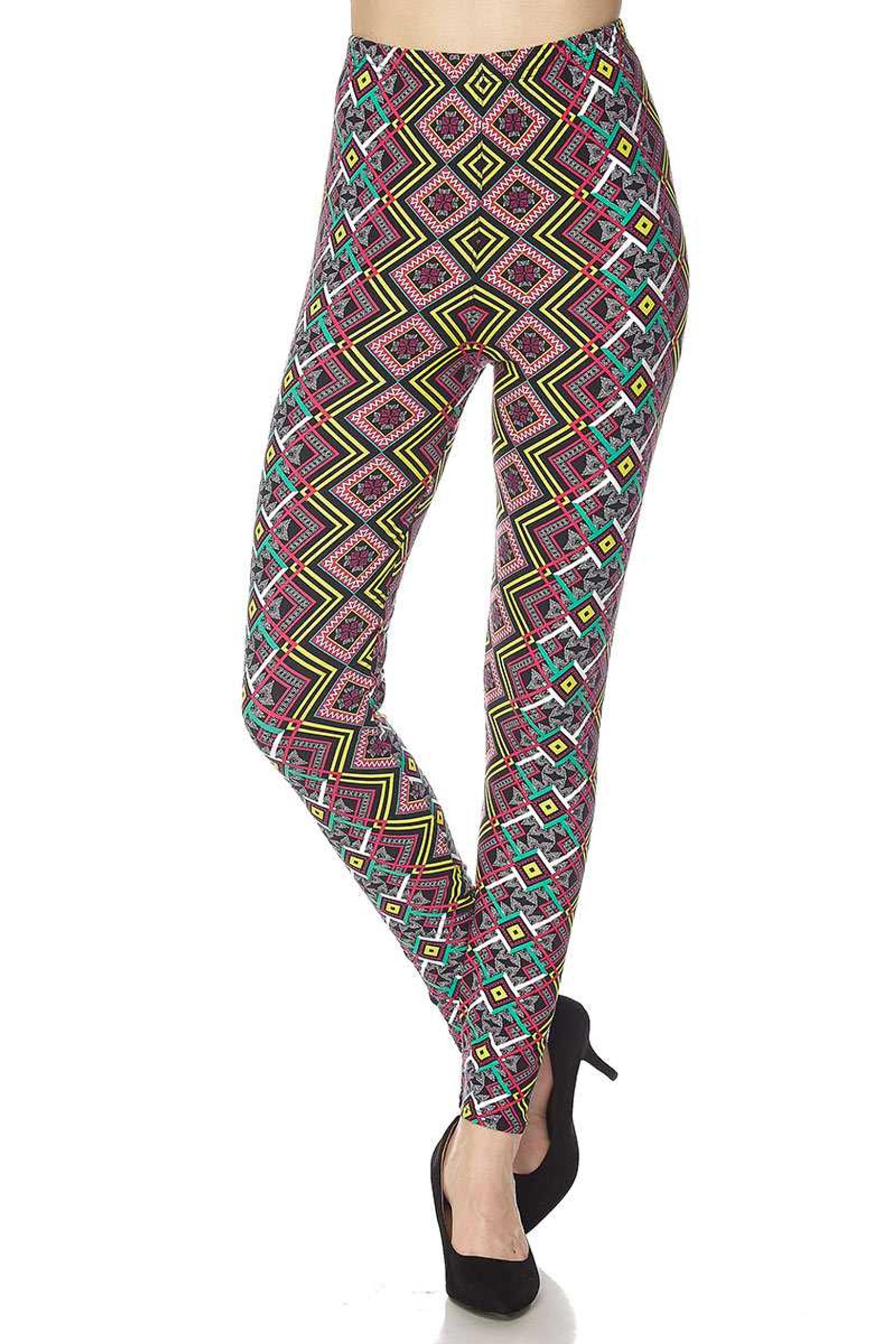 Brushed Angled Colorful Symmetry Plus Size Leggings