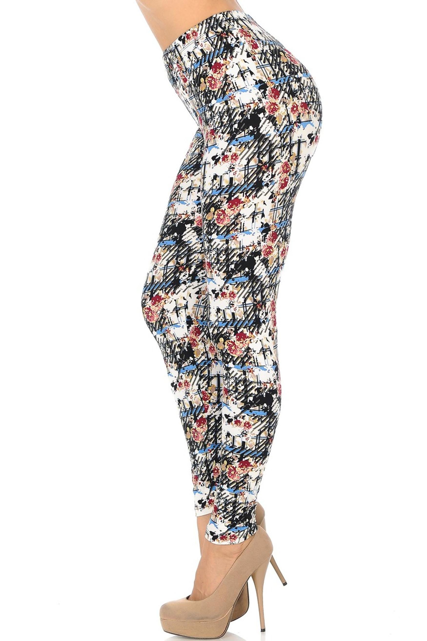 Brushed Scratch Floral Leggings