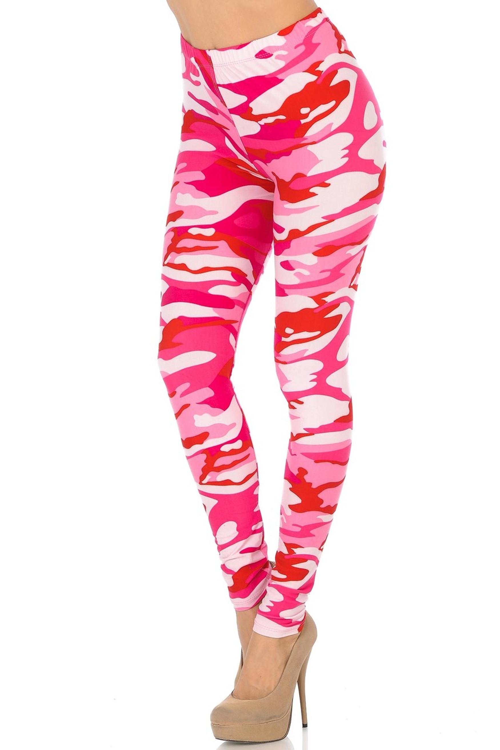 Brushed Pink Camouflage Plus Size Leggings