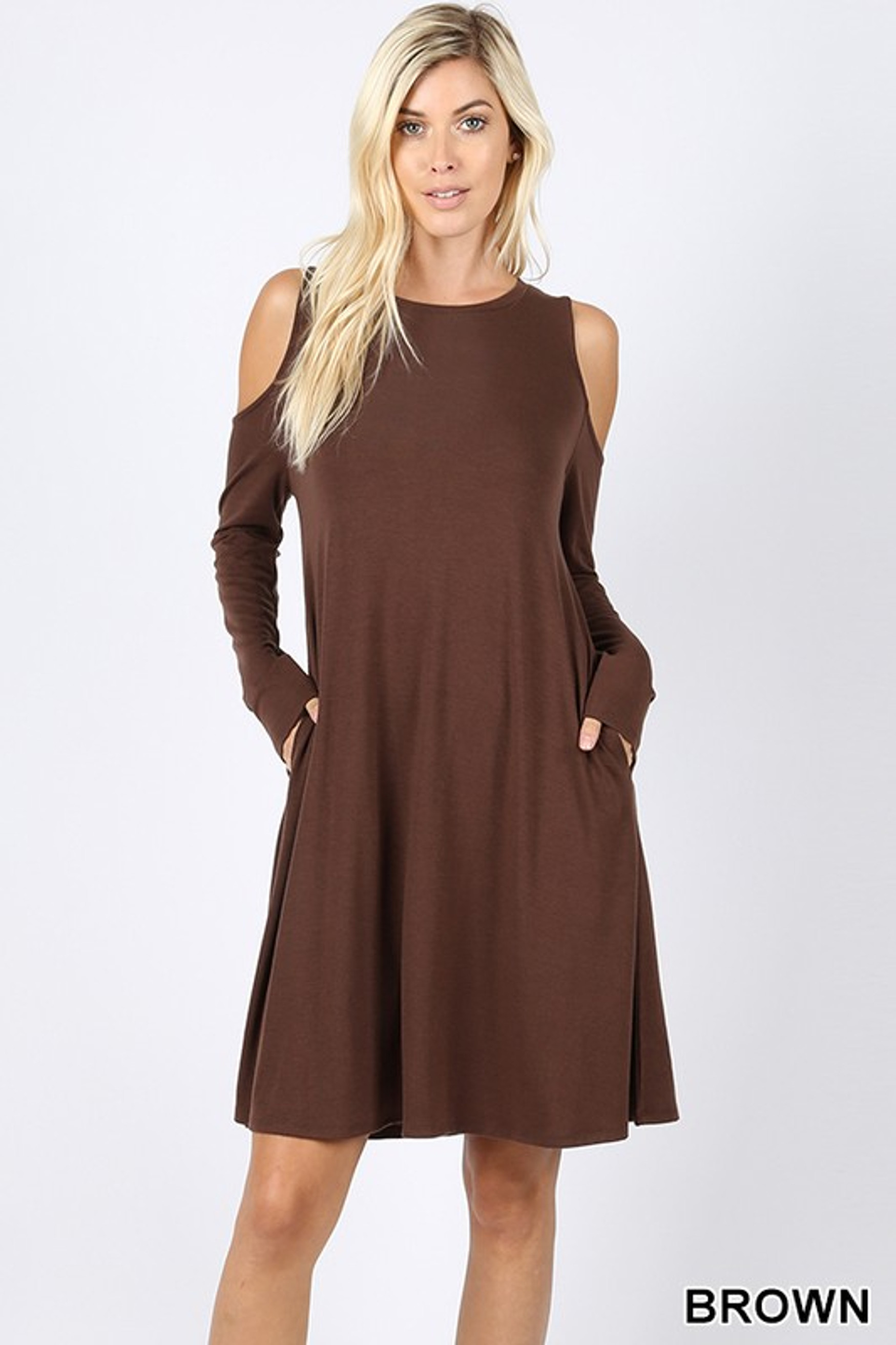 Premium Long Sleeve Cold Shoulder Dress with Pockets