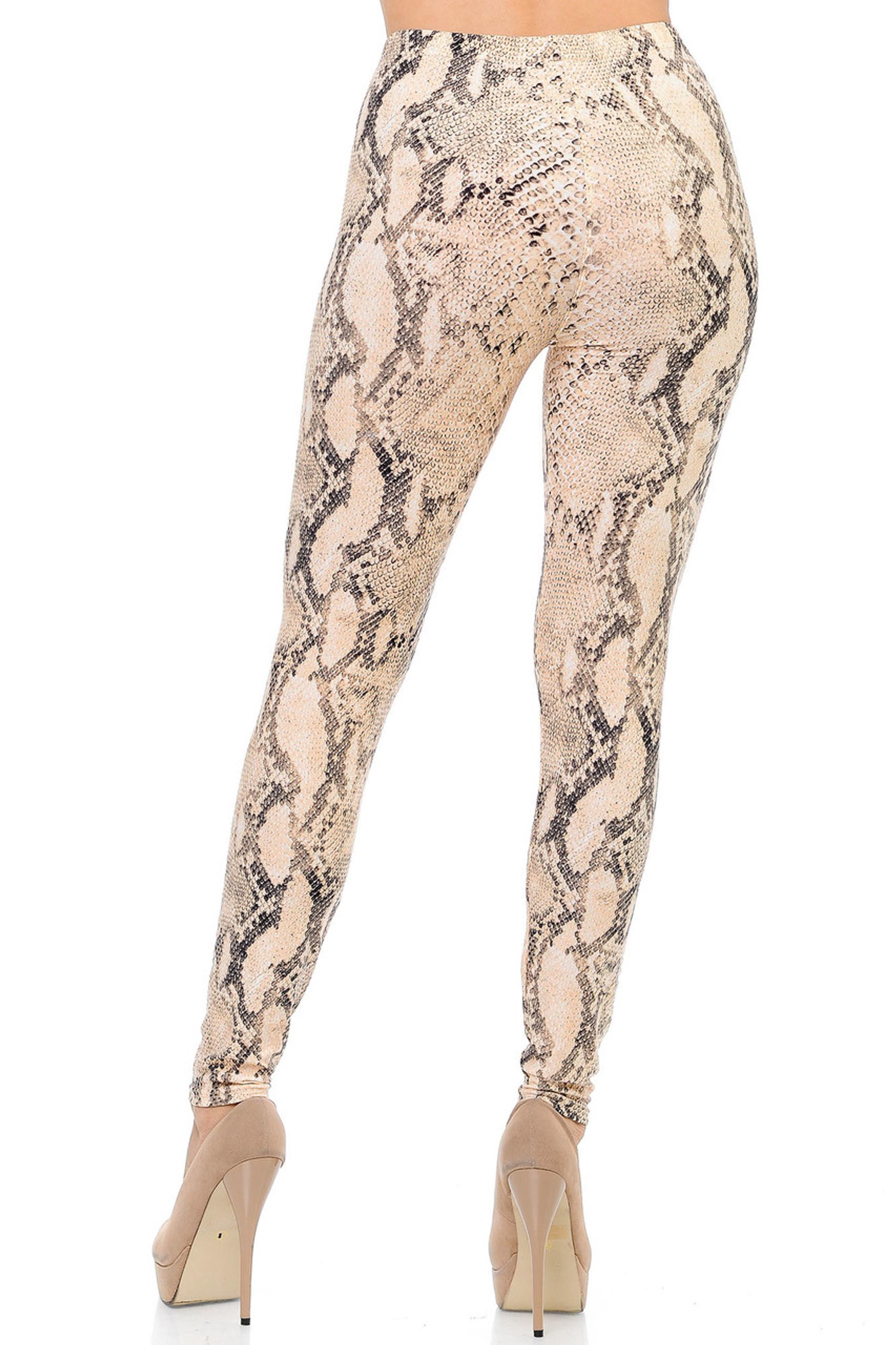Brushed Cream Snakeskin Plus Size Leggings - 3X-5X