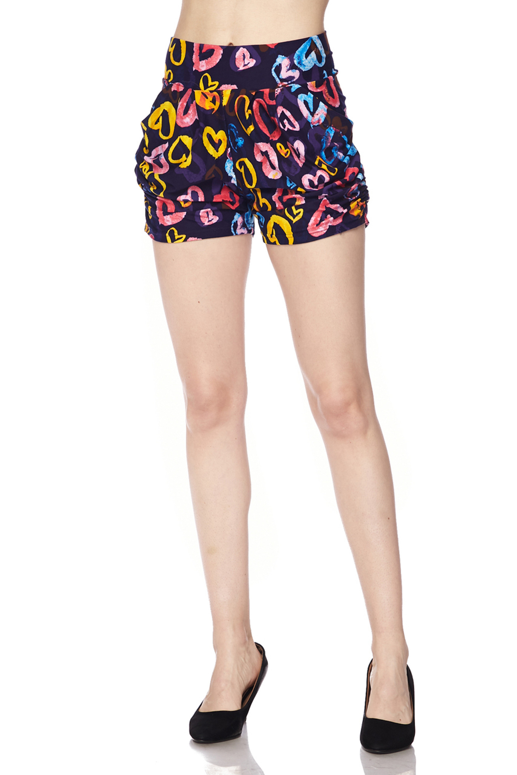 Brushed Colorful Watercolor Hearts Shorts