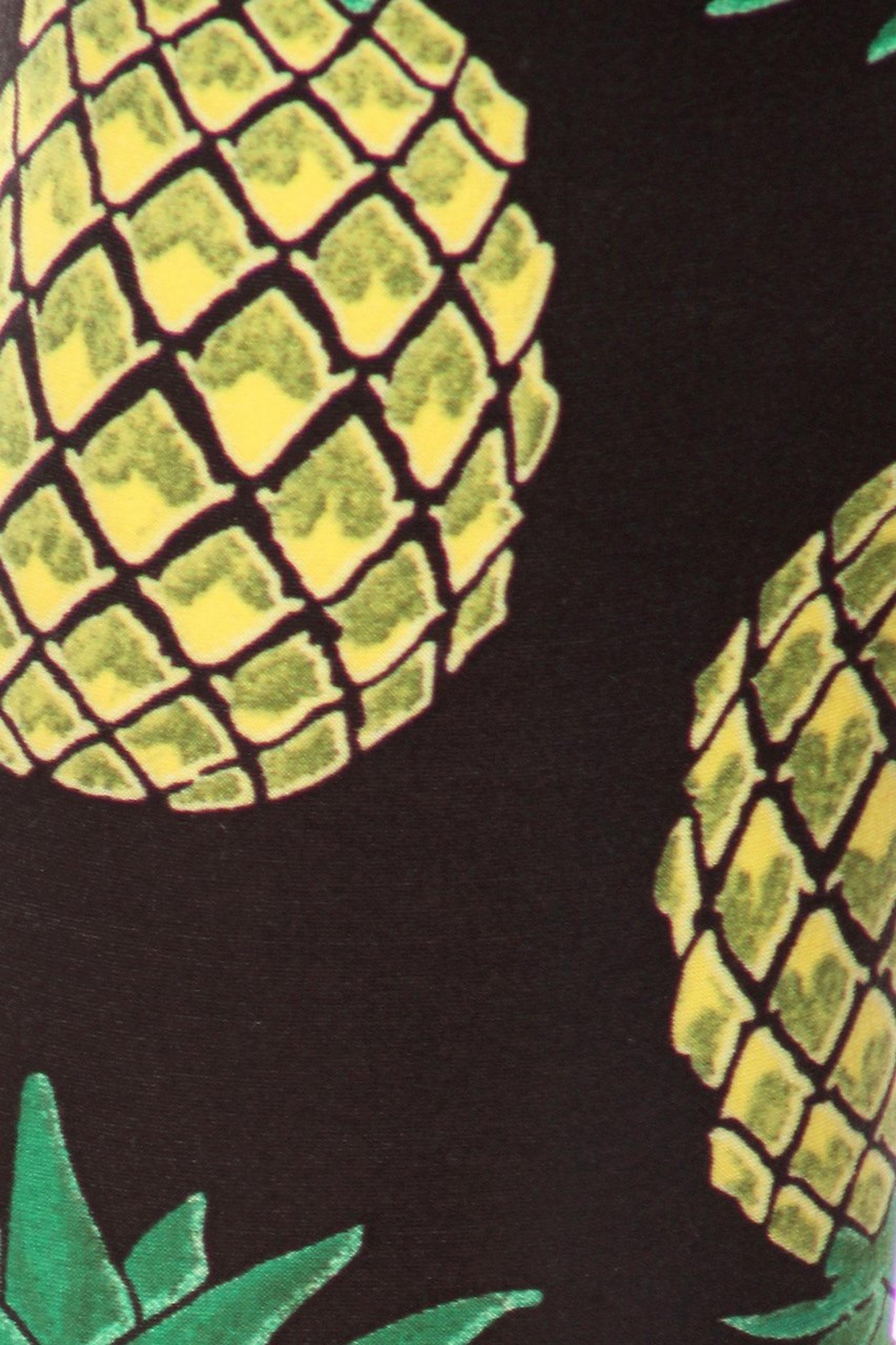 Brushed Green Pineapple Plus Size Leggings - 3X-5X
