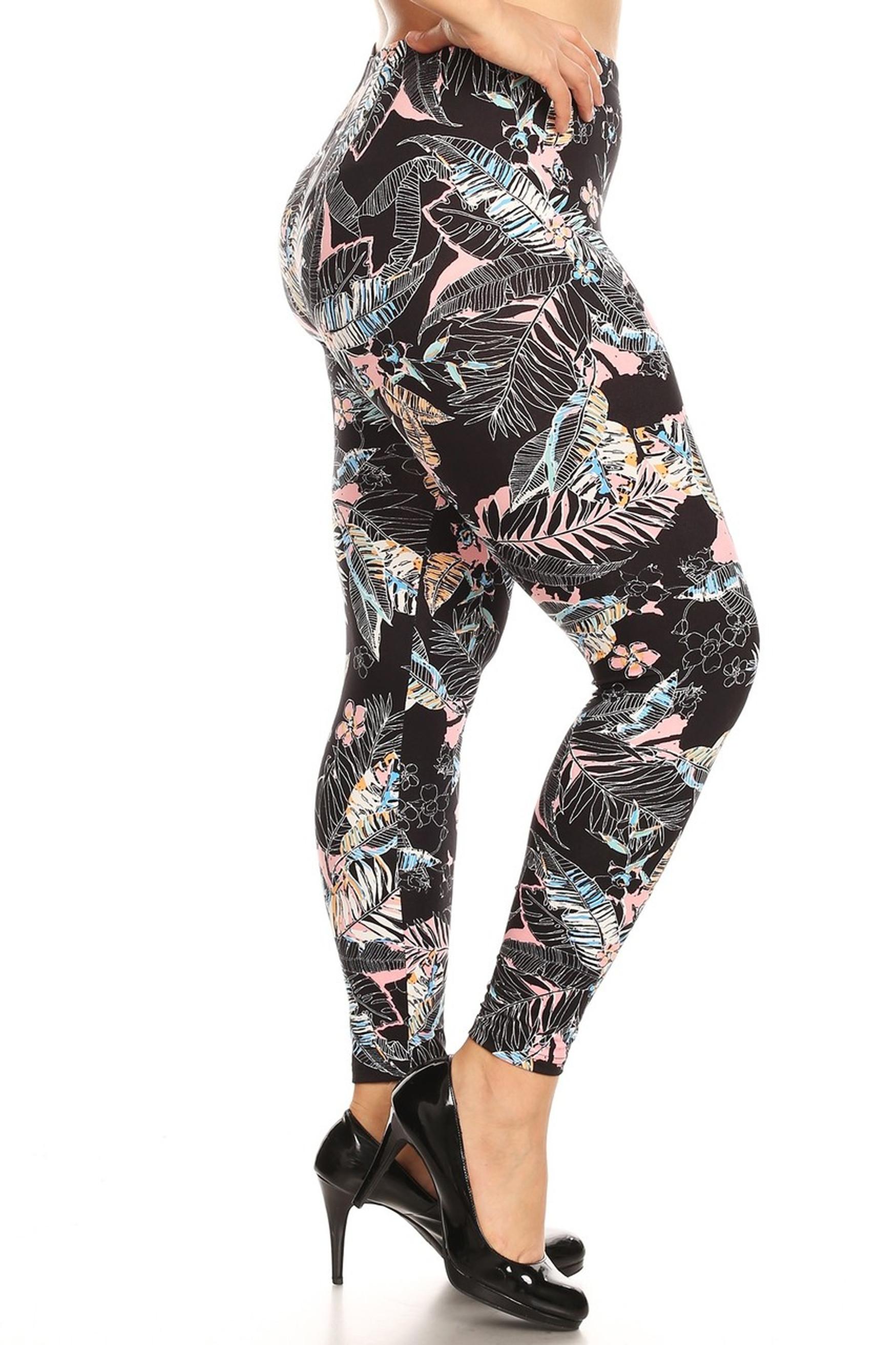 Brushed Pink Floral Tropics Plus Size Leggings