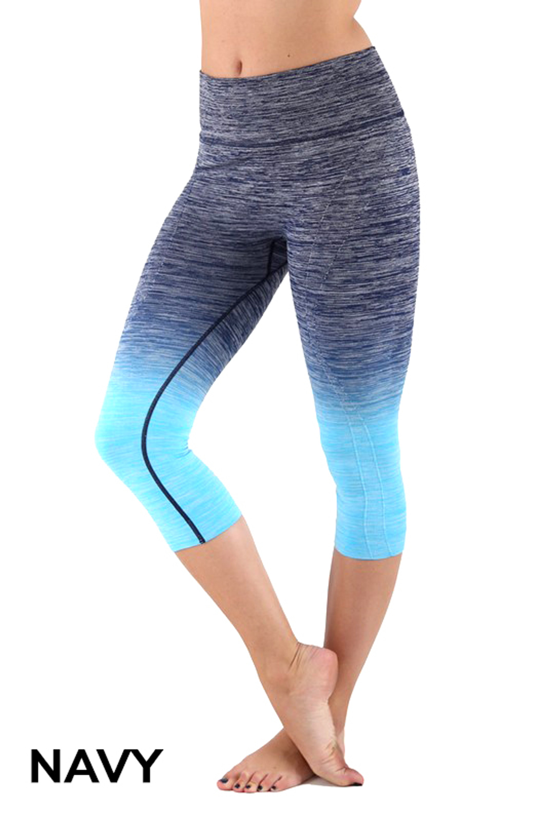 Navy Ombre Fusion Workout Plus Size Capris
