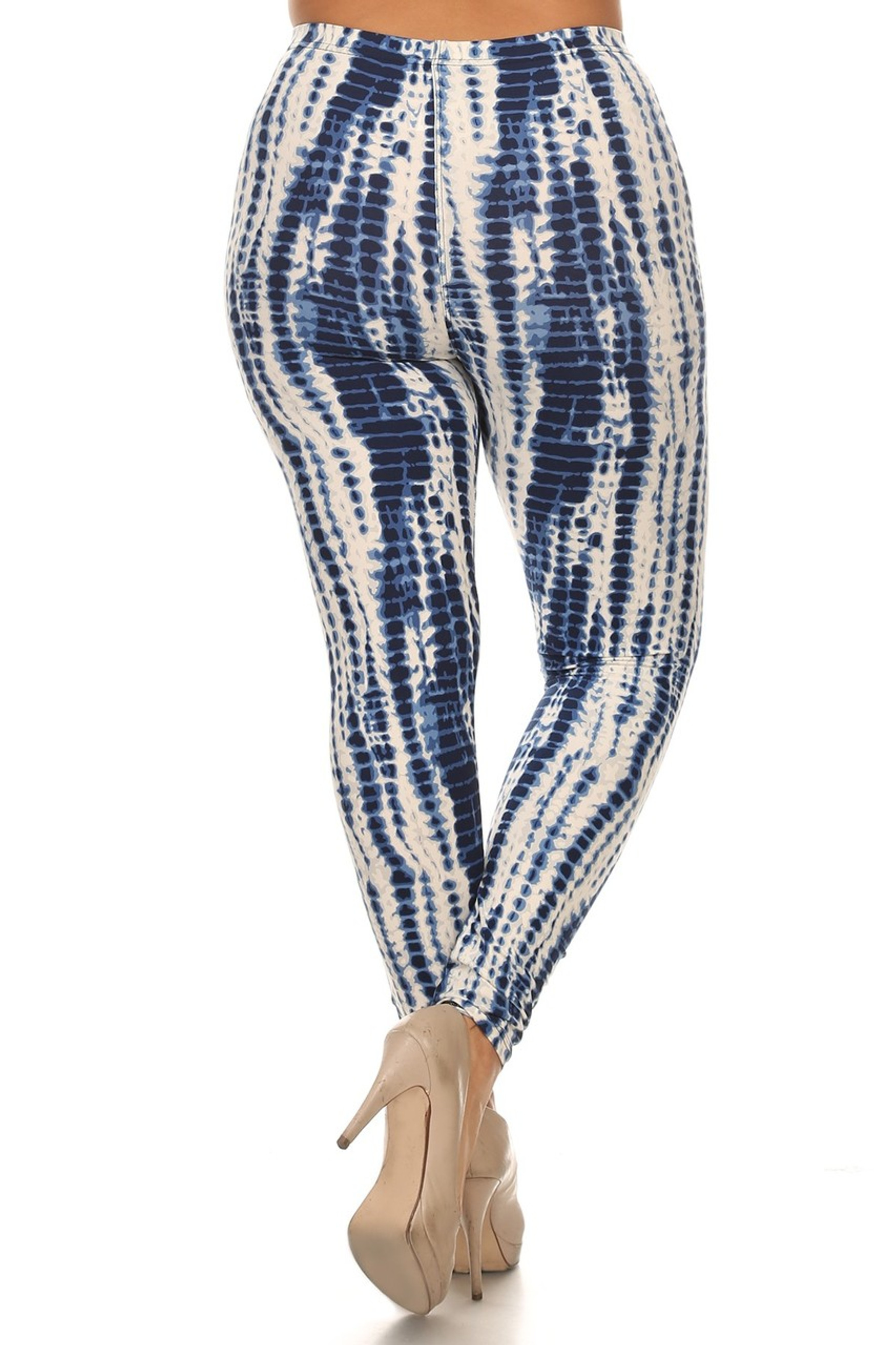 Brushed Vertical Blue Tie Dye Plus Size Leggings