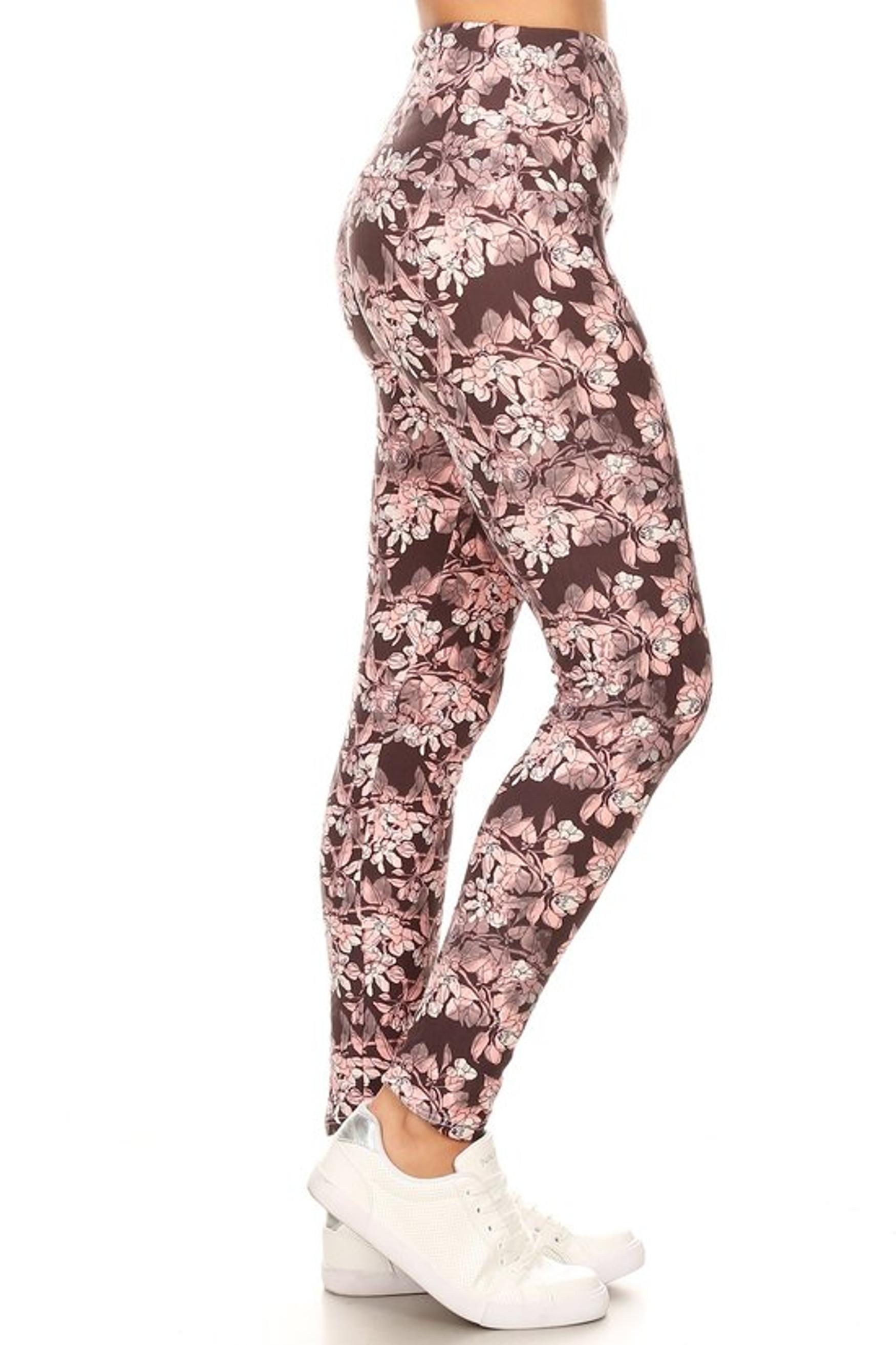 Brushed Beautiful Pink Floral Eden High Waist Leggings