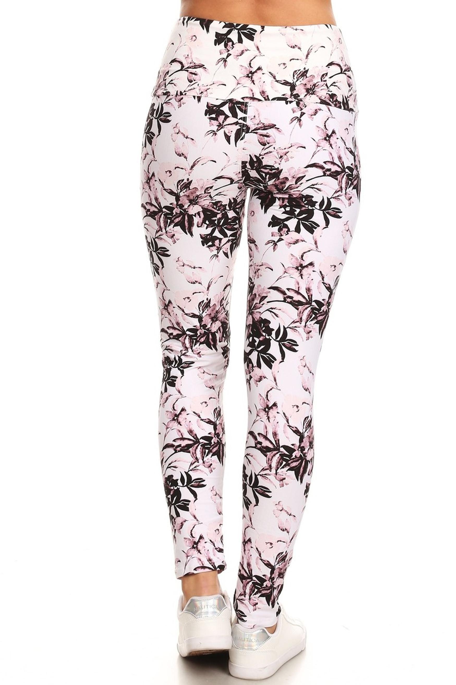 Brushed Pastel Blossom Bloom High Waist Leggings