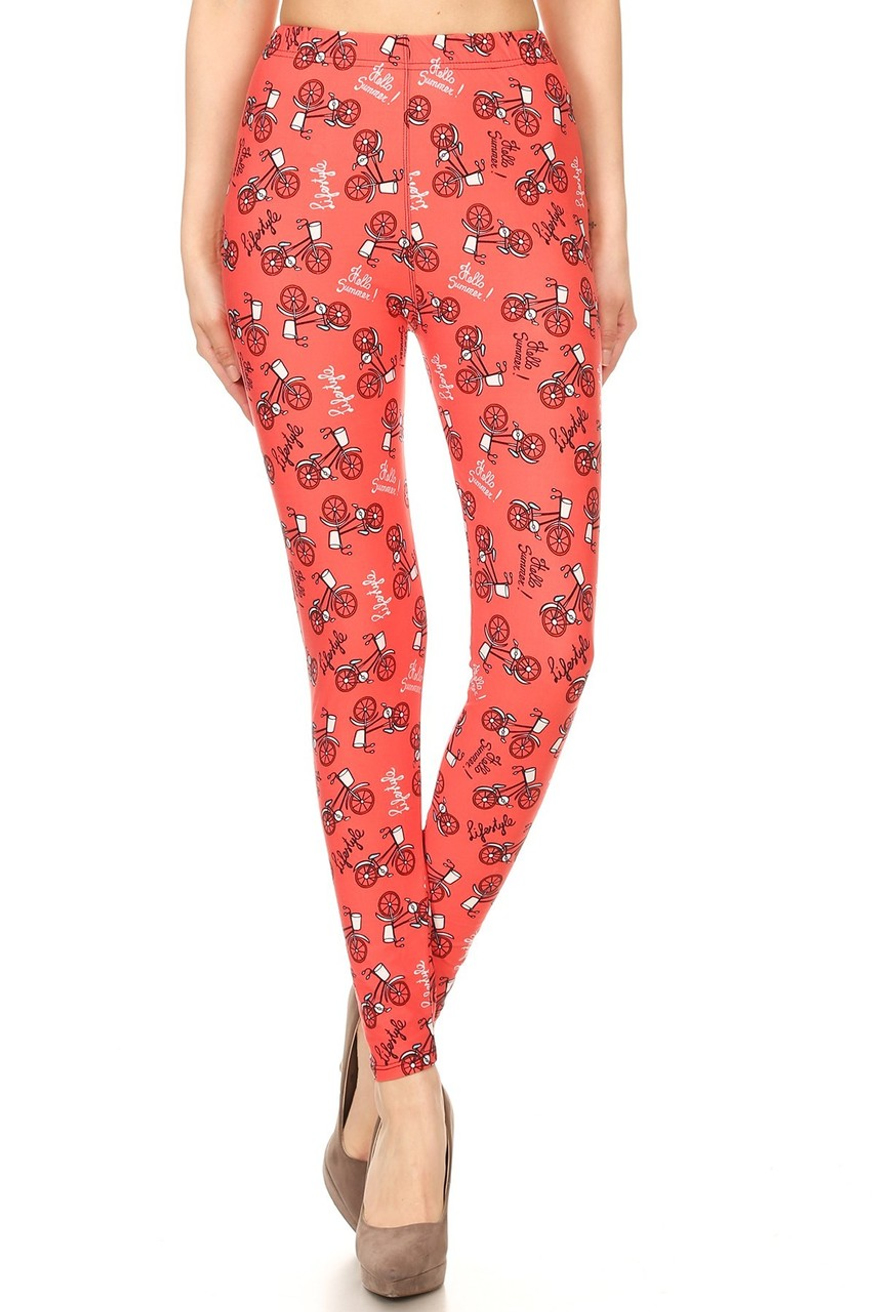 Buttery Red Summertime Bicycles Leggings