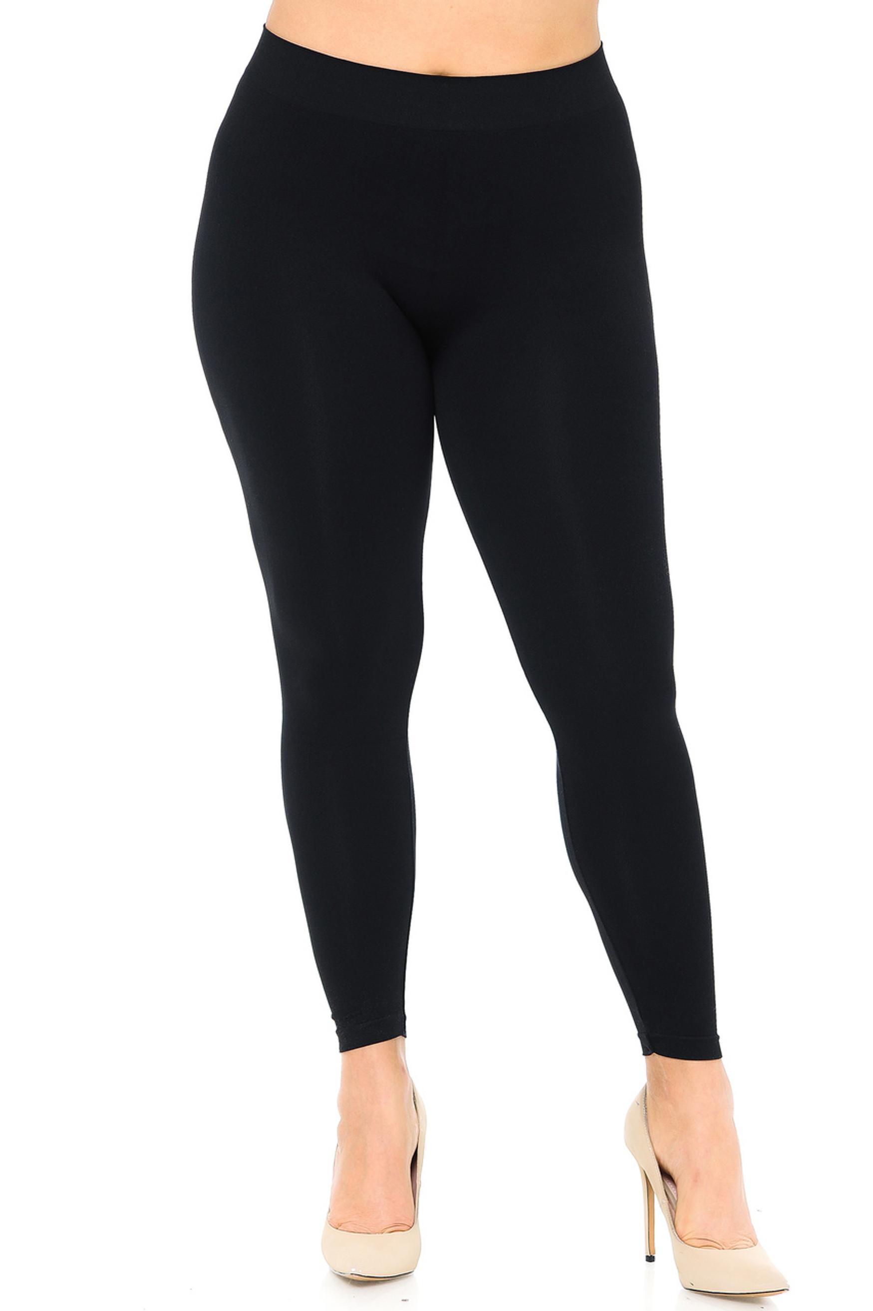 Premium Nylon Spandex Solid Basic Plus Size Leggings