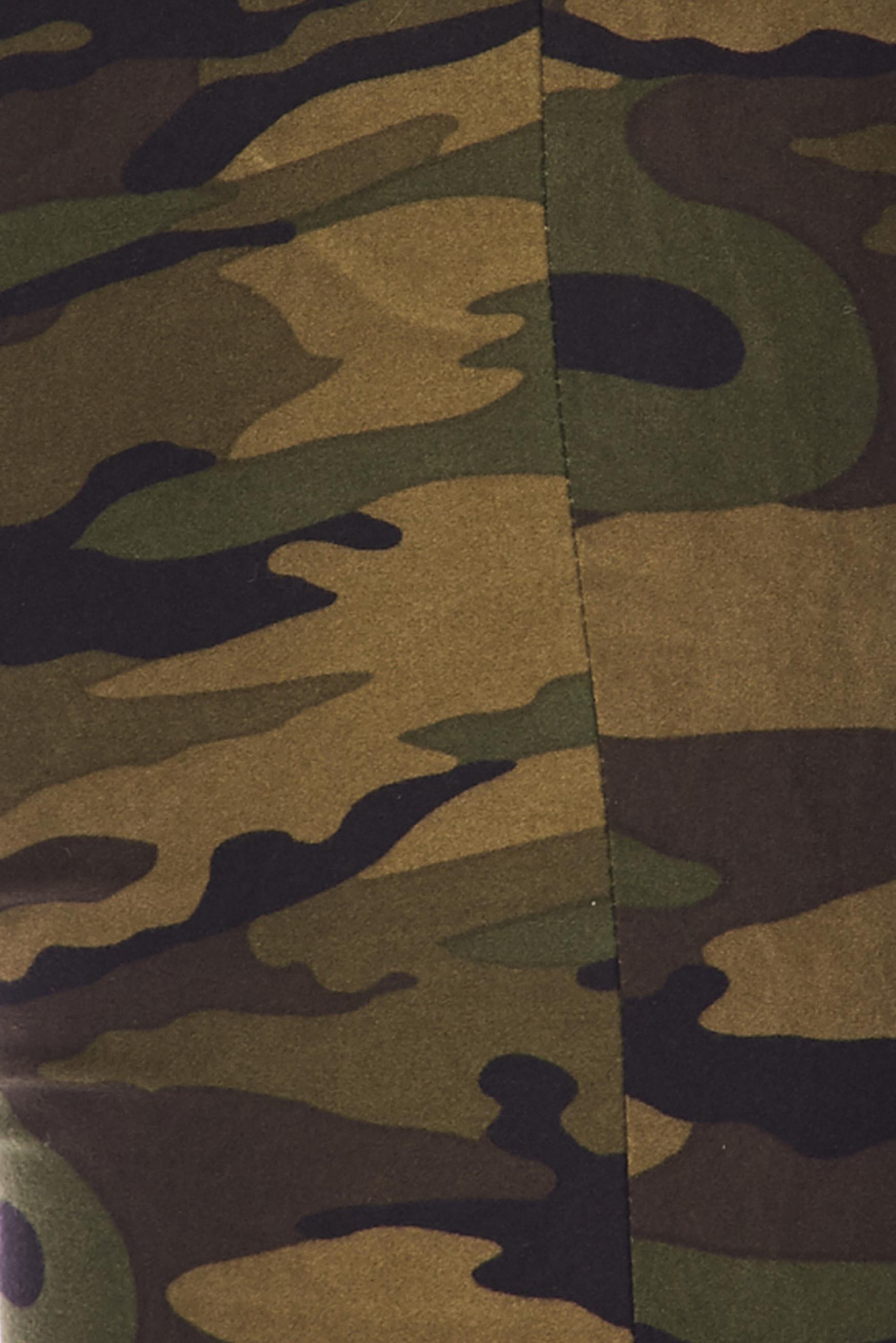 Brushed Green Camouflage Bell Bottom Leggings