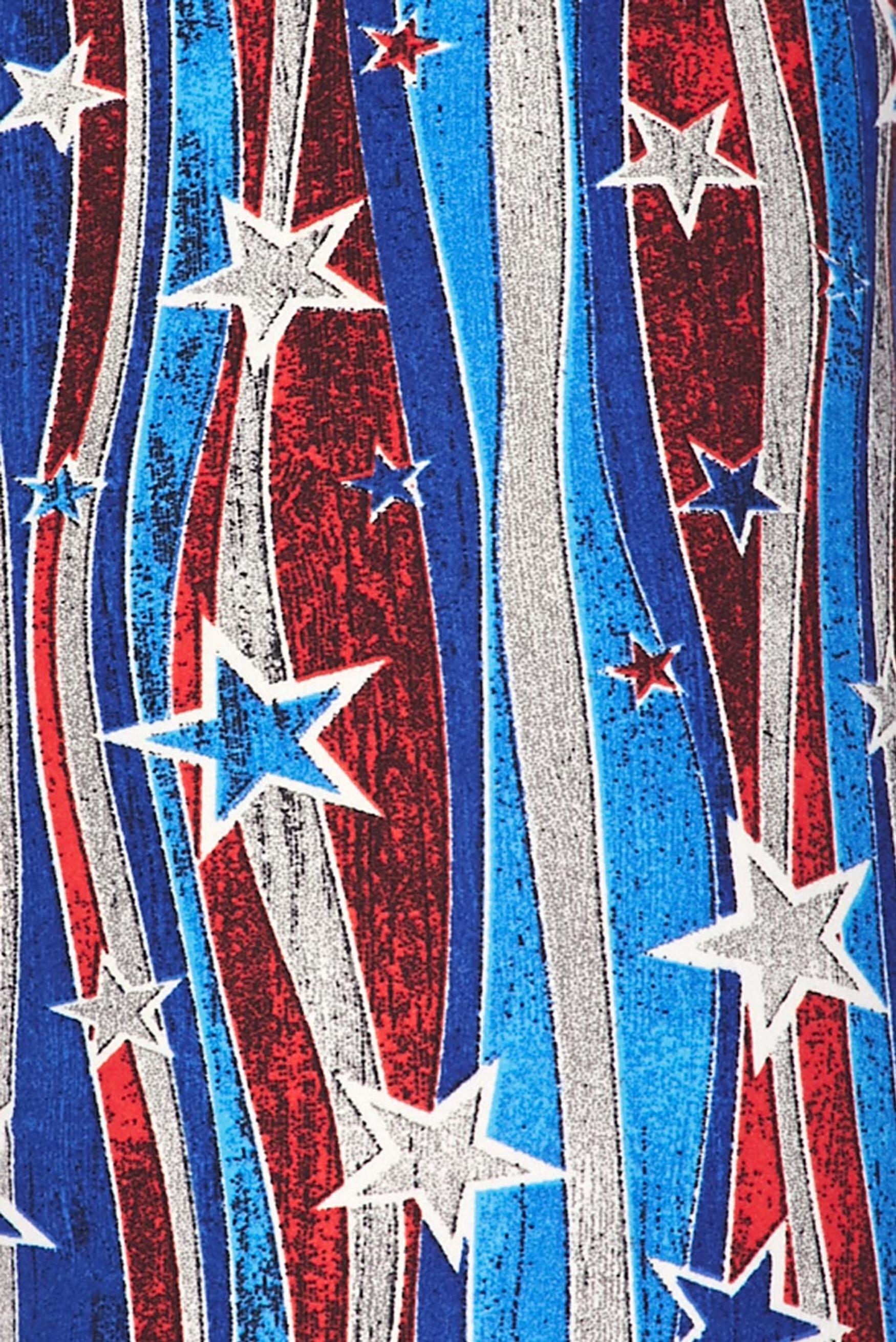 Brushed Metallic USA Flag Plus Size Leggings