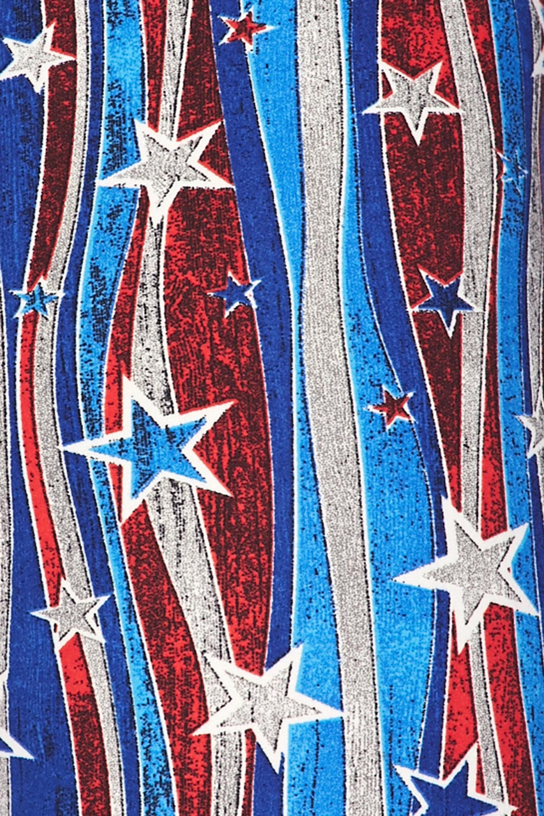 Brushed Metallic USA Flag Plus Size Leggings - 3X-5X