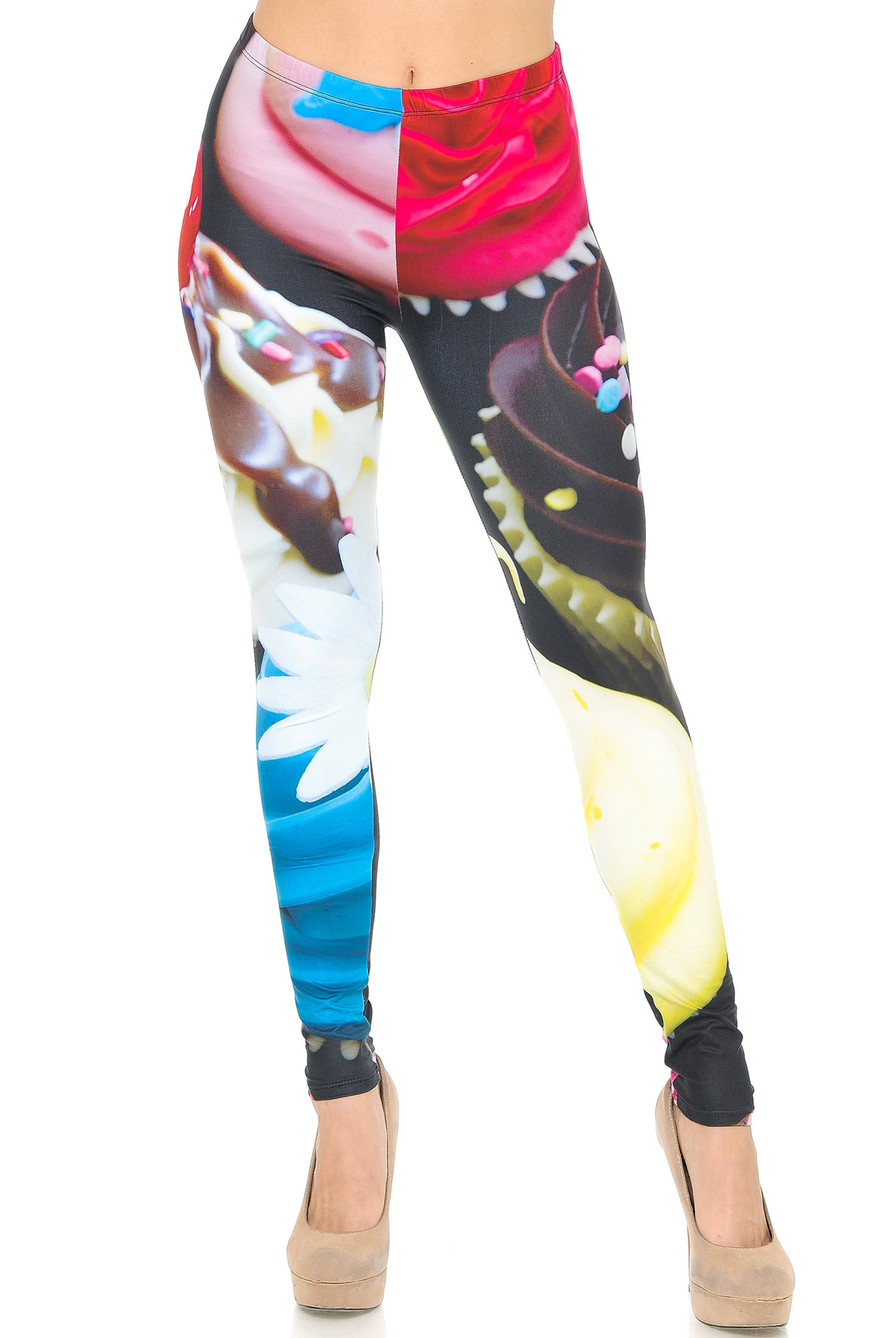 Front side image of Double Soft Brushed Colorful Cupcake Leggings