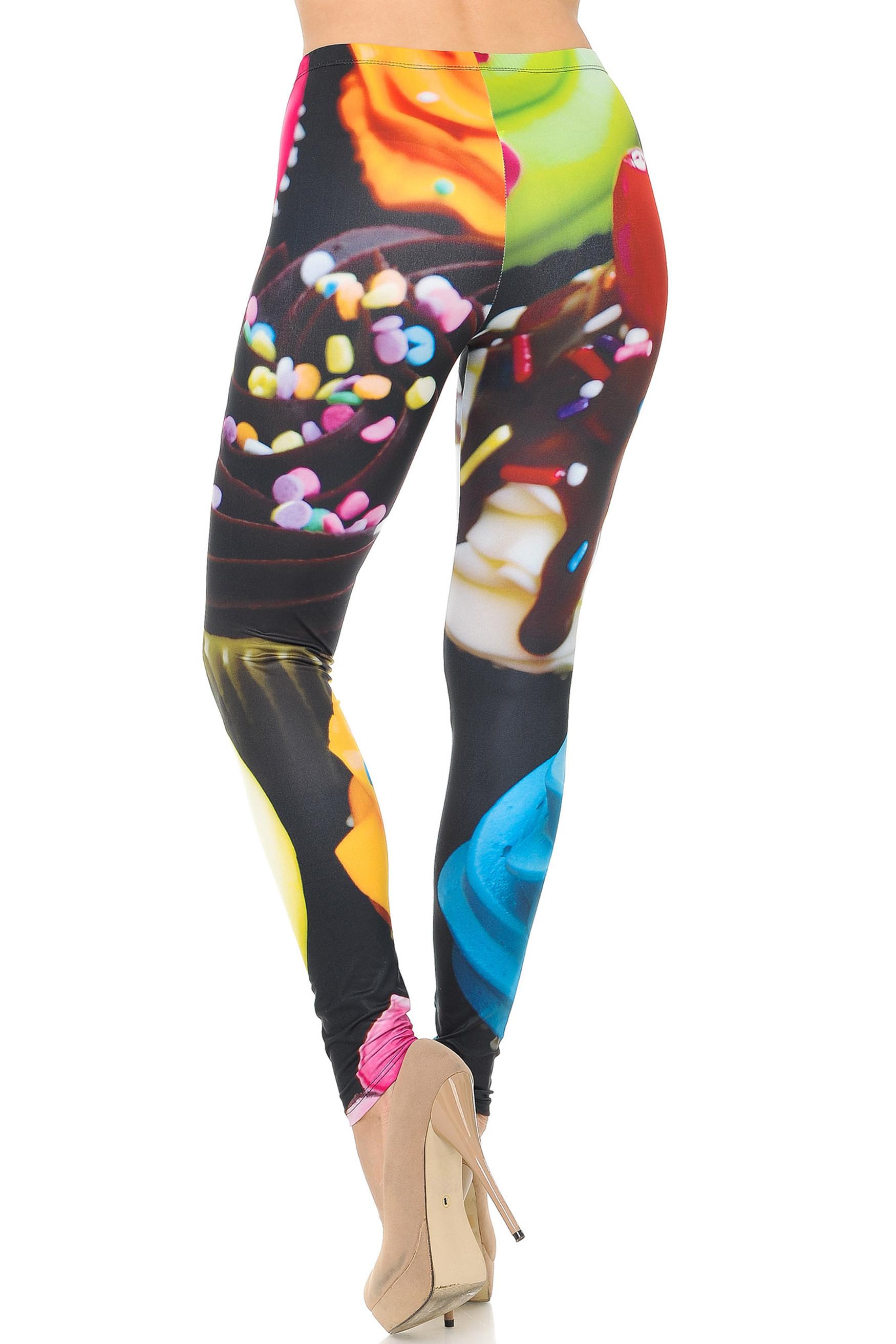 Back side image of Double Soft Brushed Colorful Cupcake Leggings